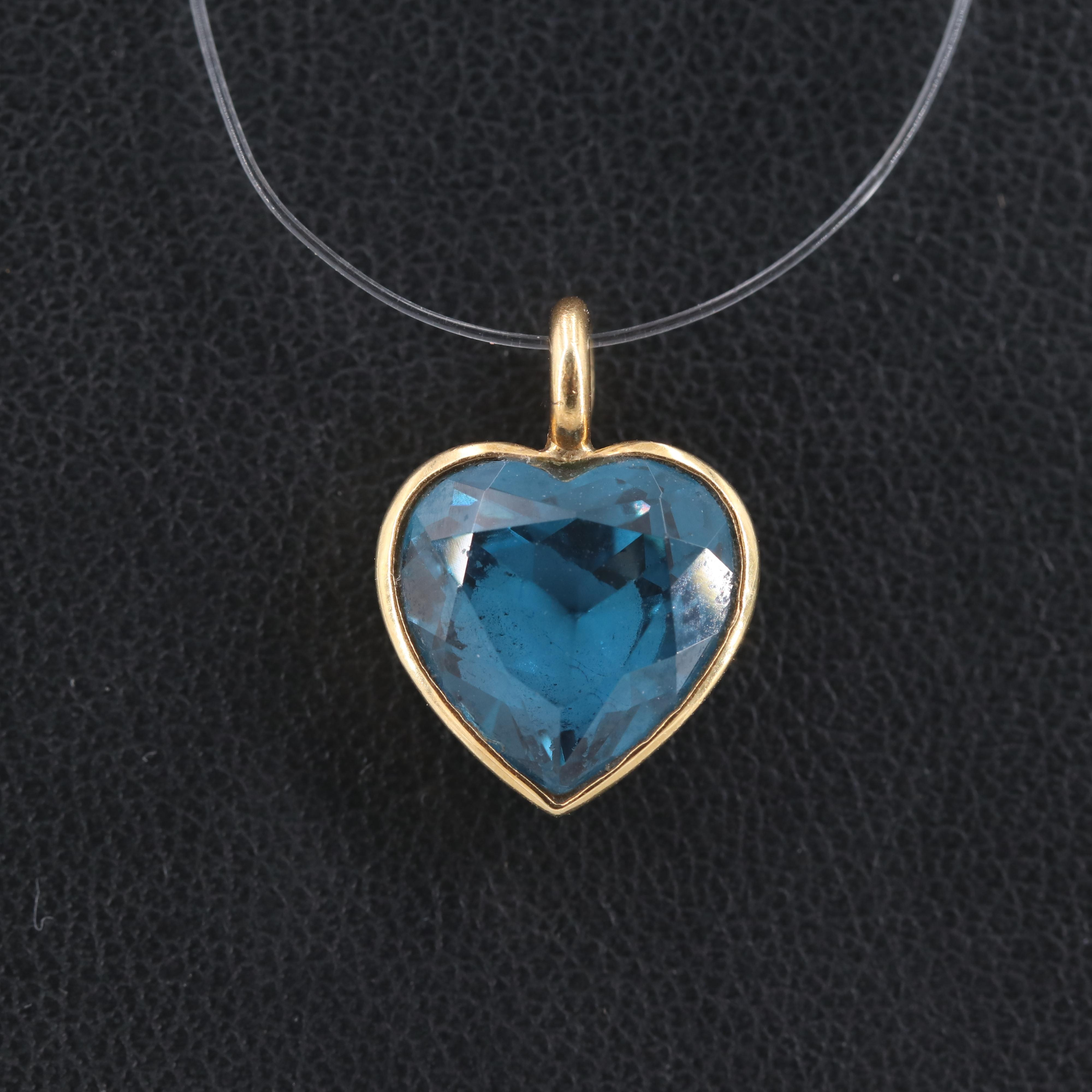 18K Yellow Gold Synthetic Spinel Heart Pendant