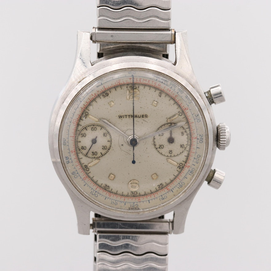 Vintage Wittnauer Stainless Steel Chronograph Wristwatch