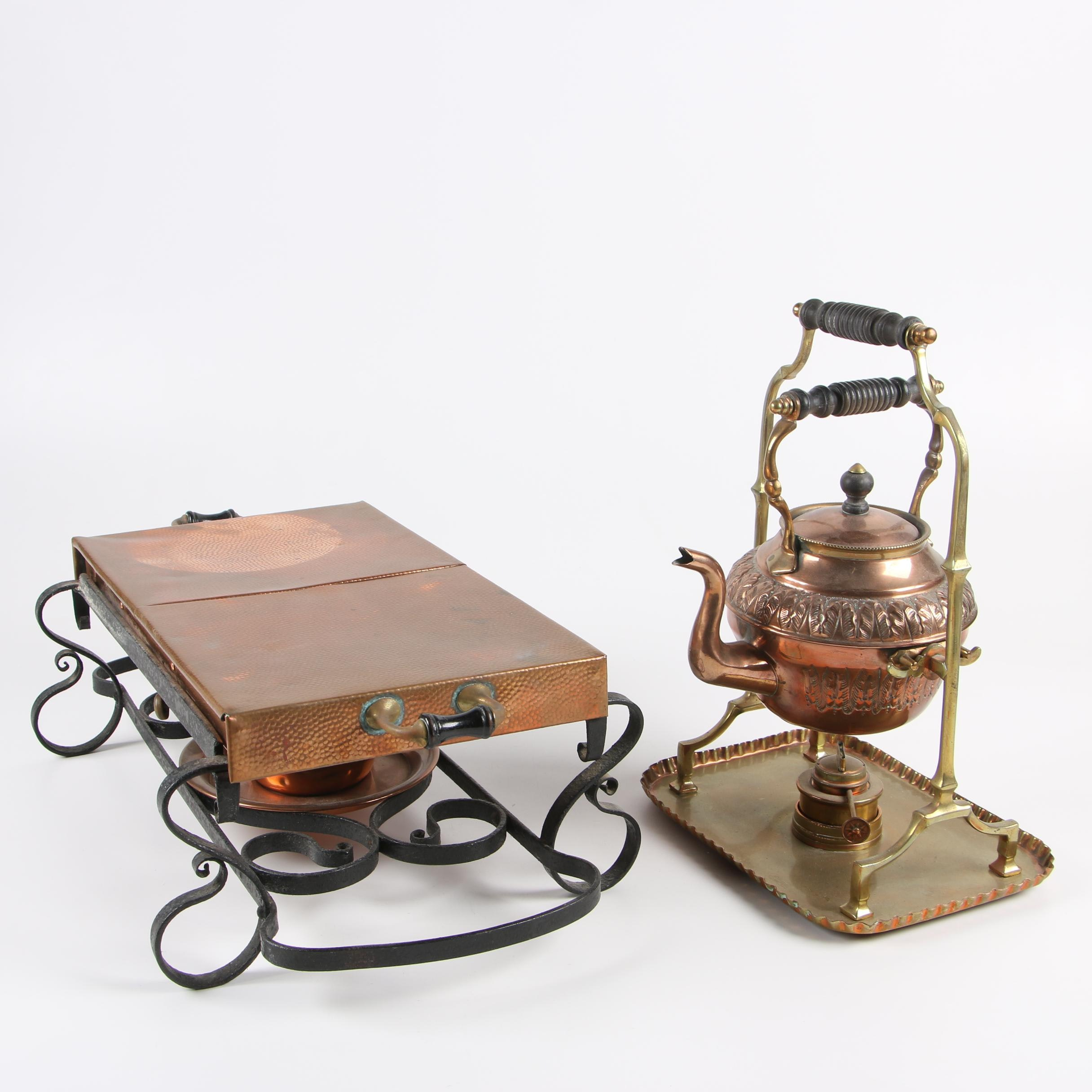 Townshend Ltd. Copper and Brass Food Warming Tray and Tilting Tea Kettle