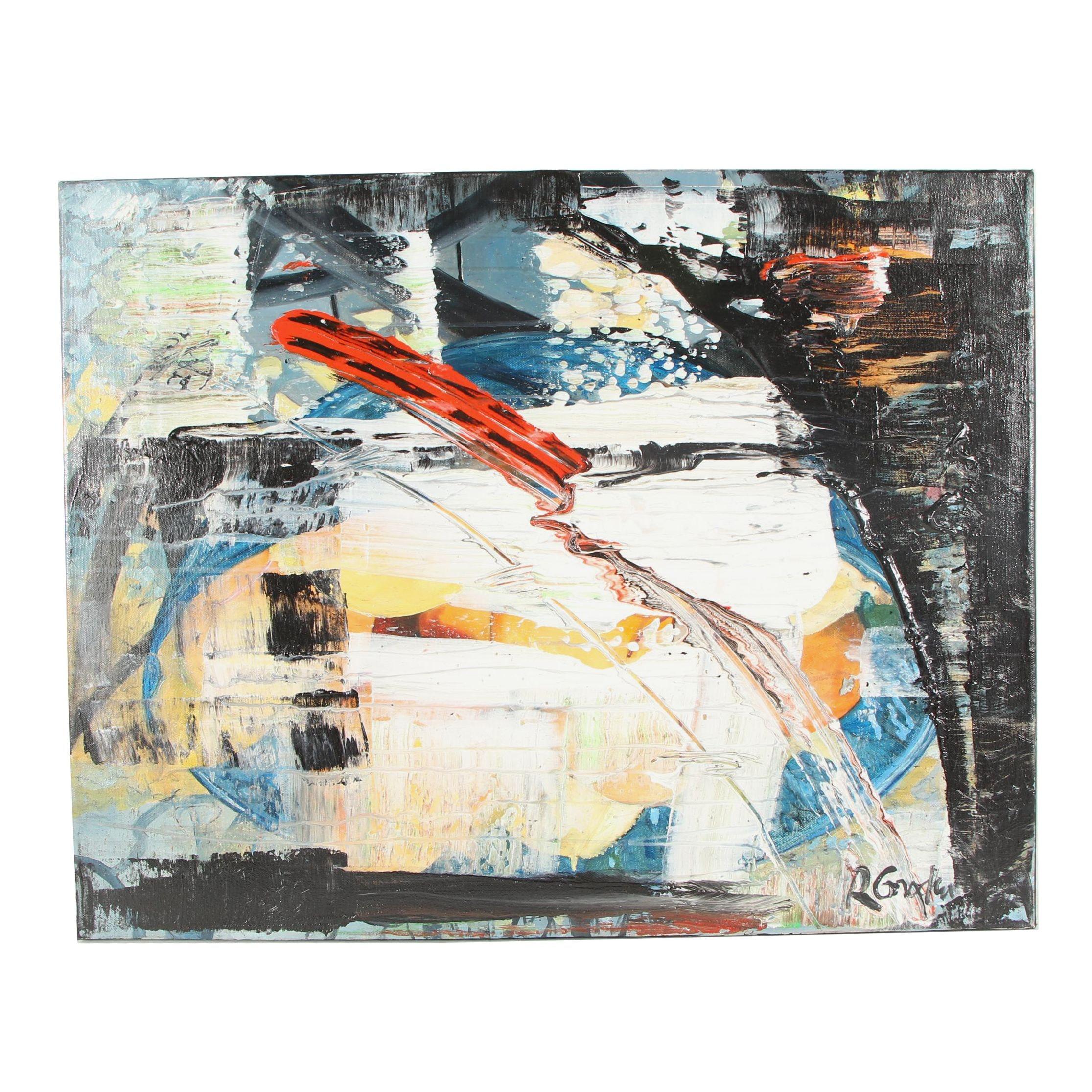 "Randy Groden Mixed Media Painting ""Yerakini"""