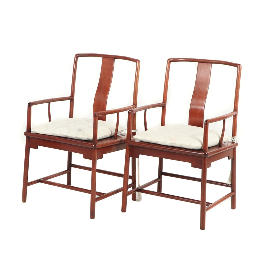 Chinese Southern Official Hardwood Armchairs with Cushions, Late 20th Century