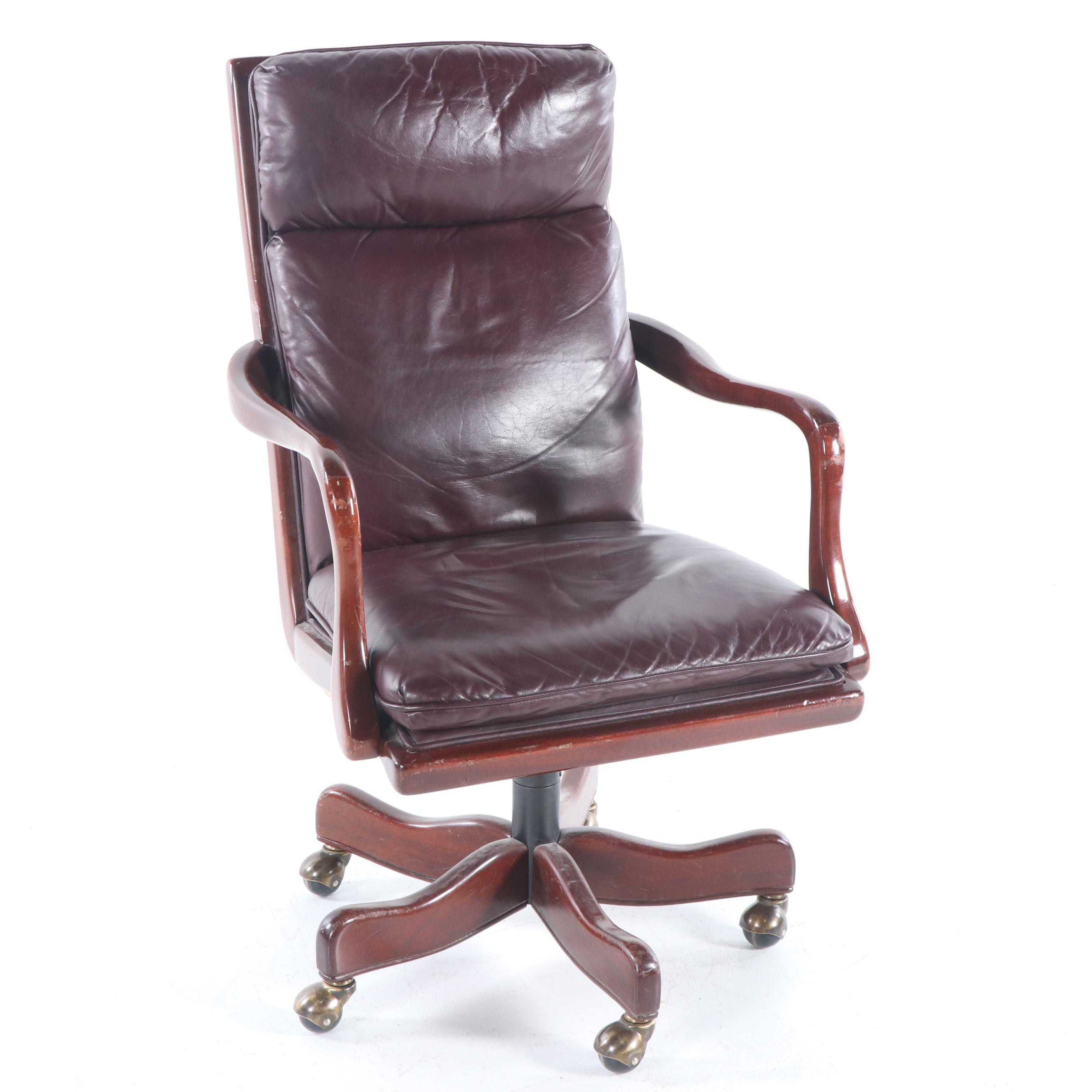 Leather Office Chair on Casters, Late 20th Century