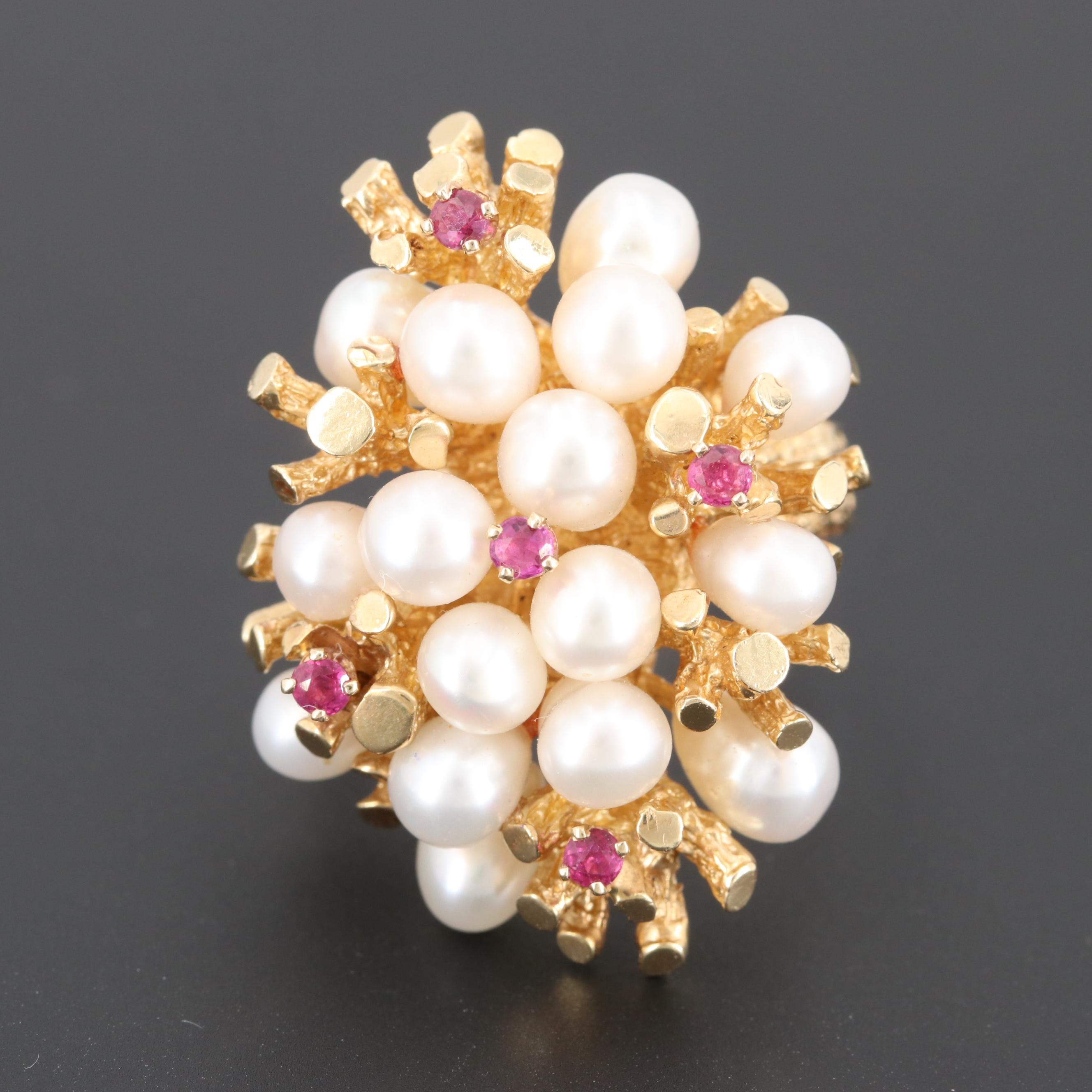 Circa 1960s 14K Yellow Gold Ruby and Cultured Pearl Biomorphic Cluster Ring