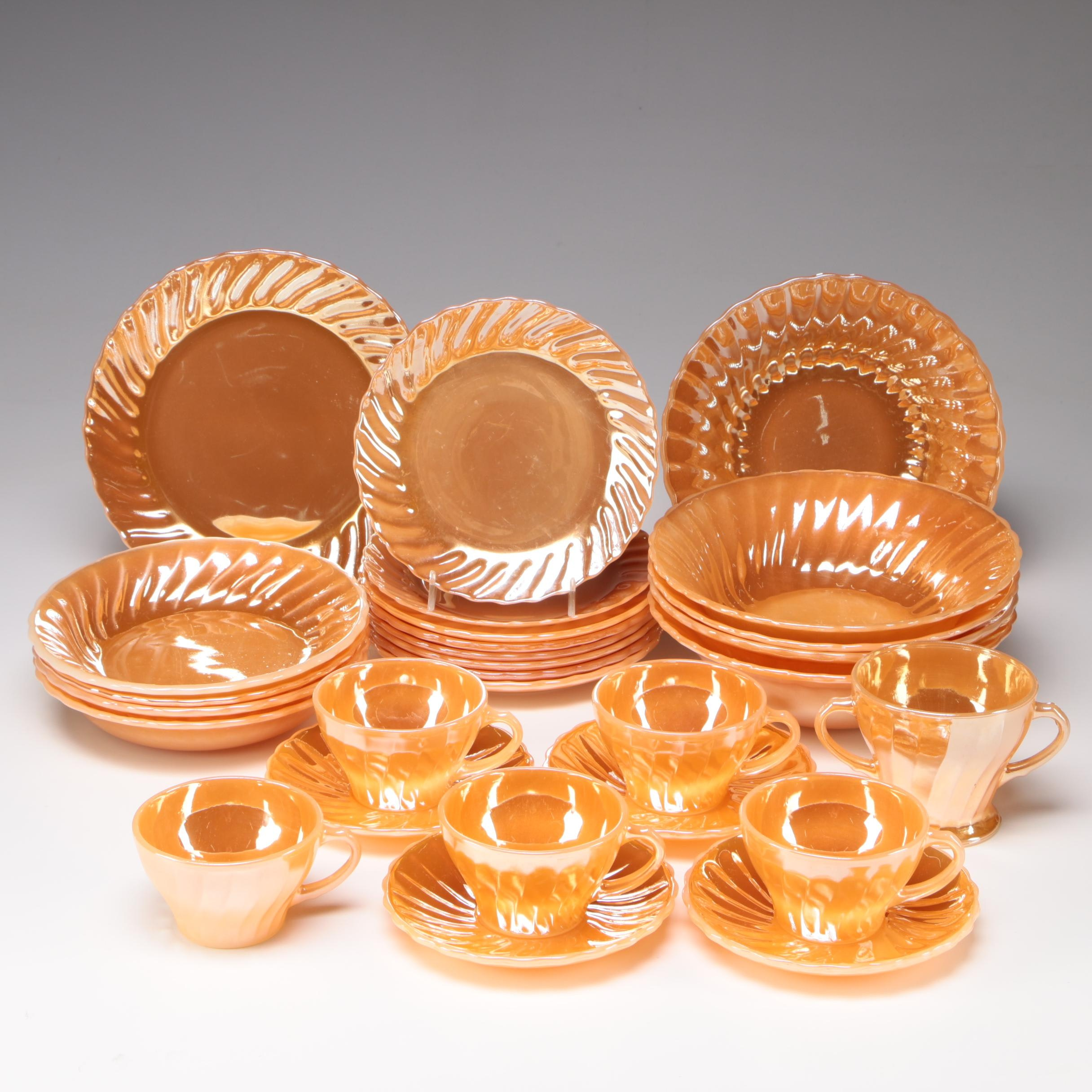 "Anchor Hocking Fire-King ""Peach Lustre Swirl"" Dinnerware, 1950s/1960s"