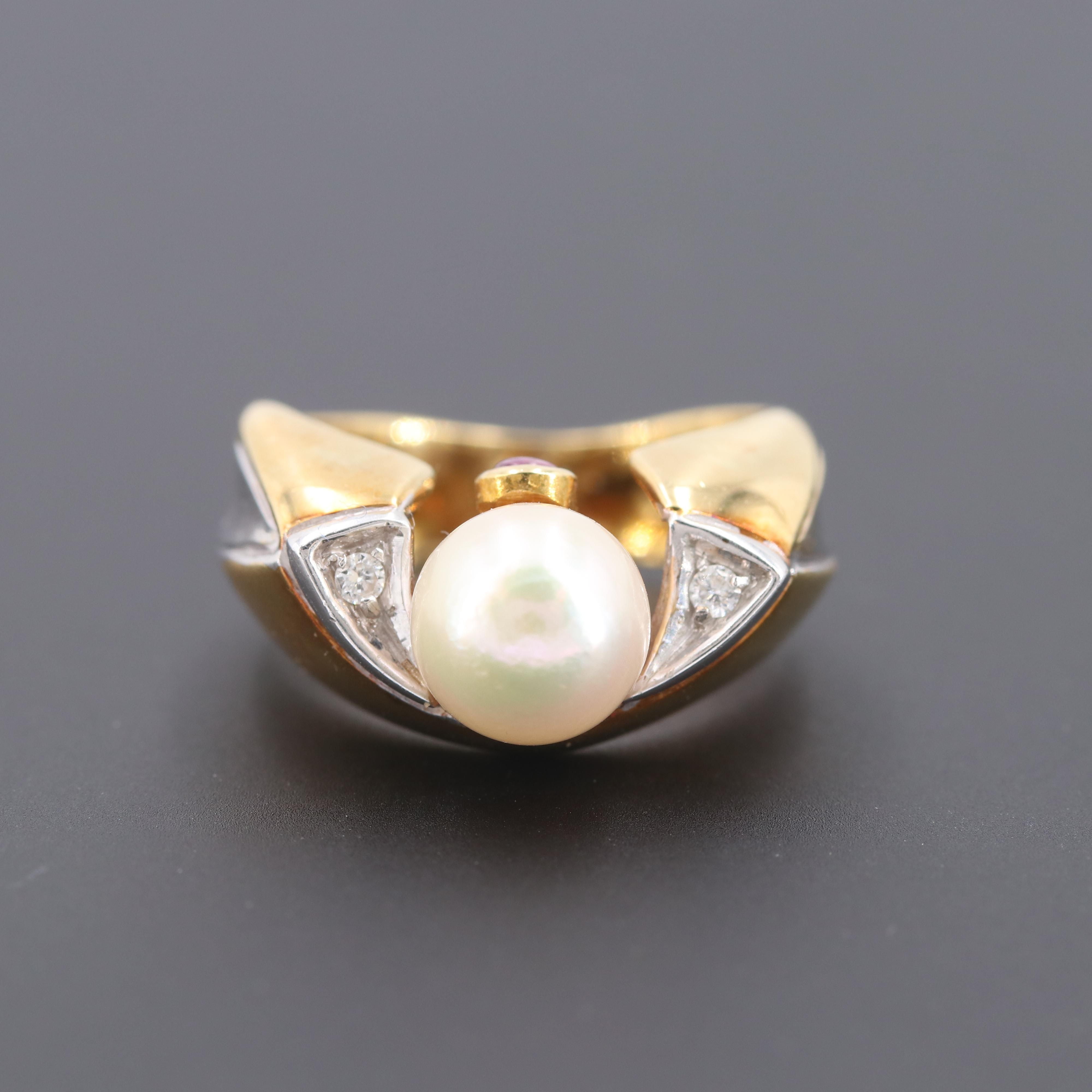 18K Yellow Gold Cultured Pearl, Diamond and Ruby Ring