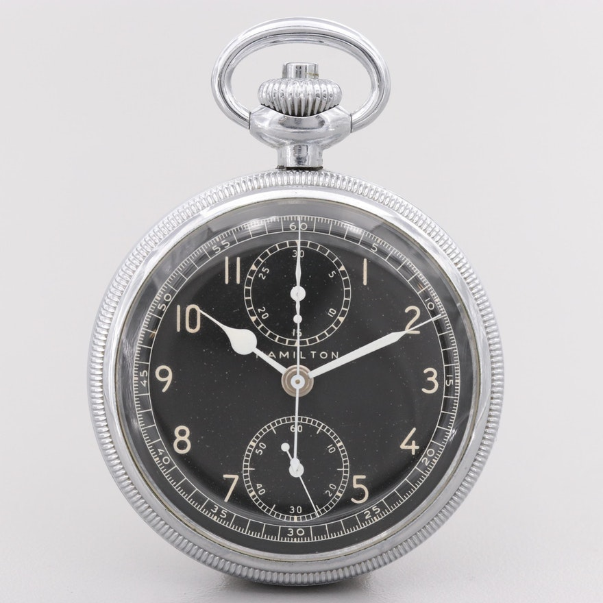 Hamilton Military Issue Chronograph Pocket Watch, 1942