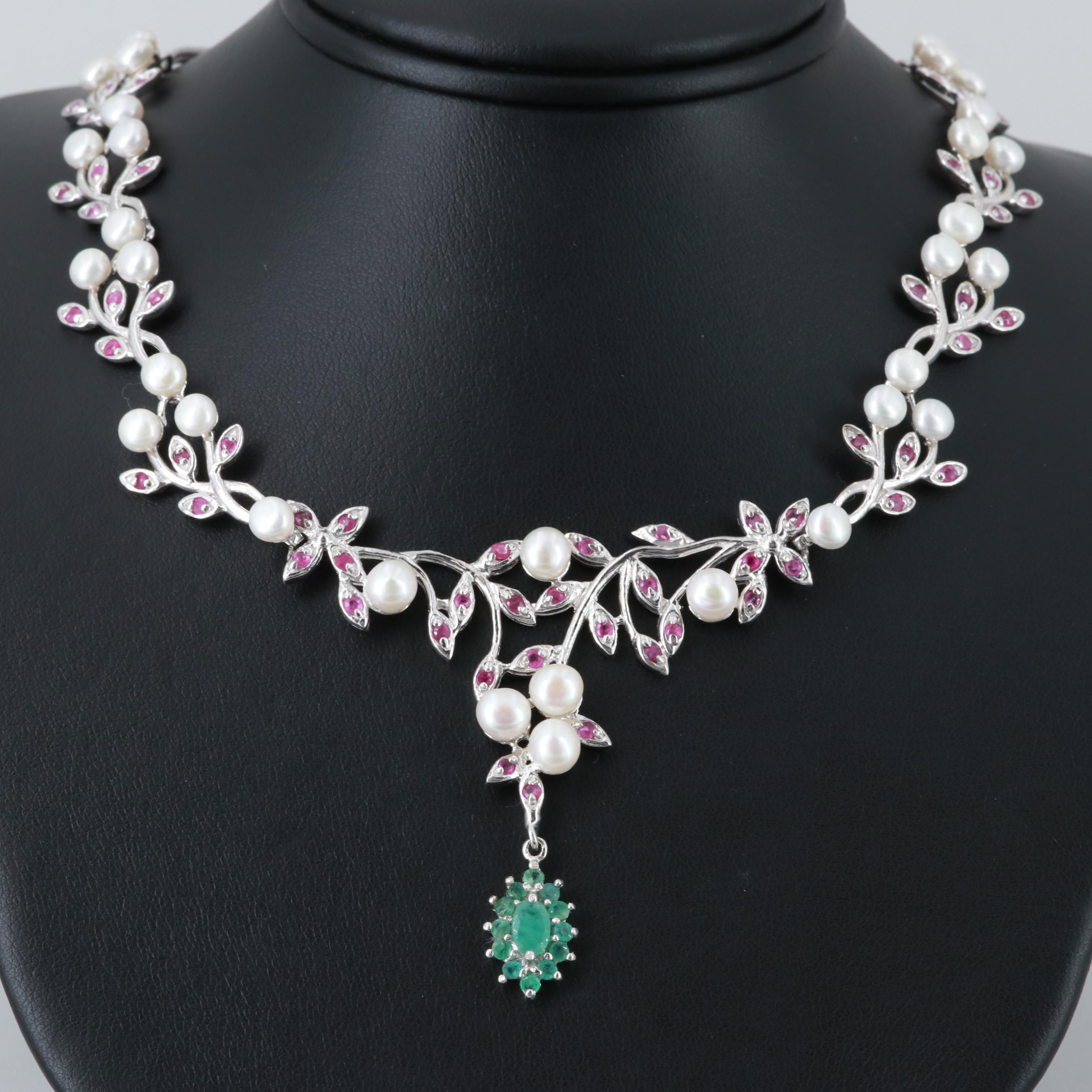 Sterling Silver Cultured Pearl, Ruby and Emerald Necklace