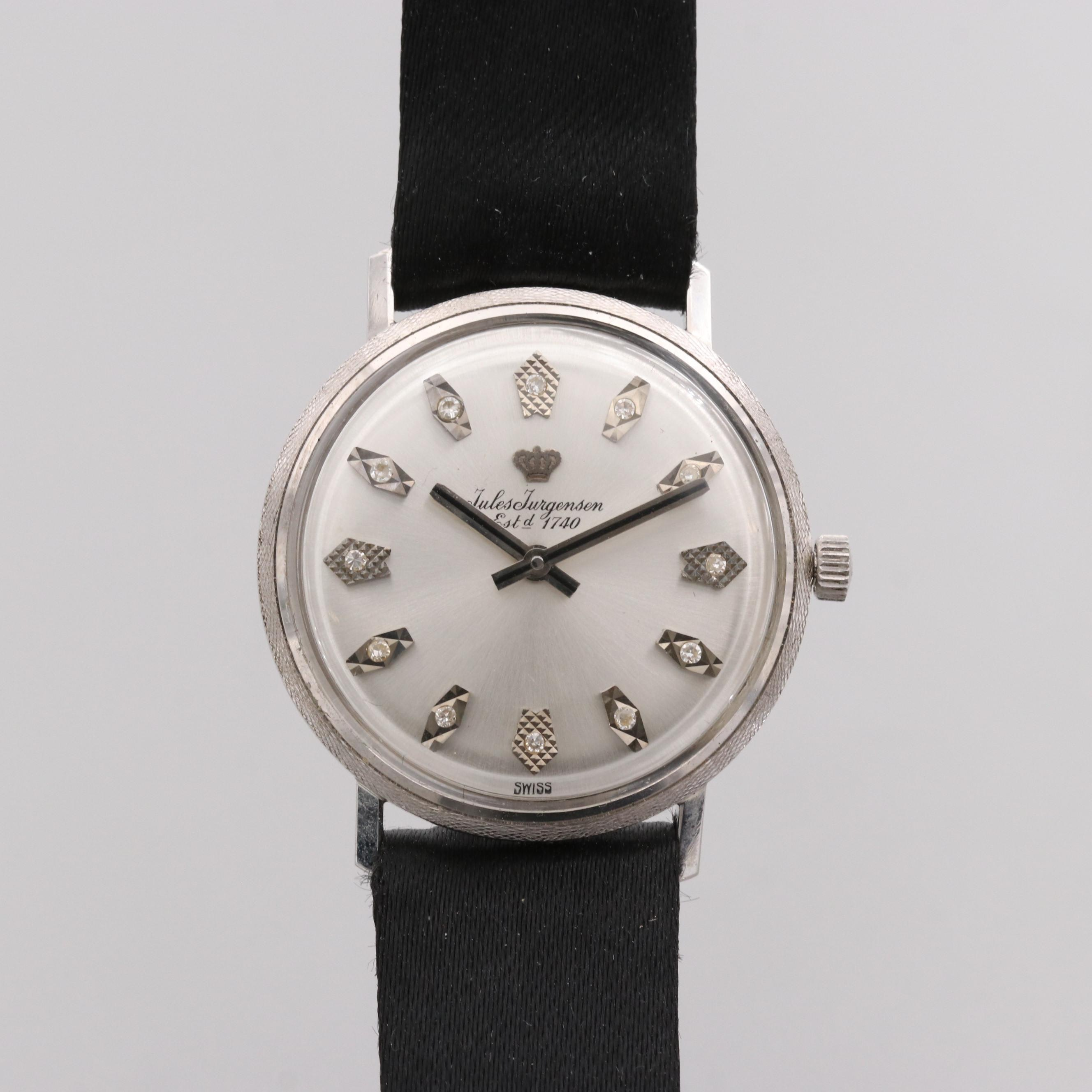 Jules Jürgensen 14K White Gold Wristwatch With Diamond Dial