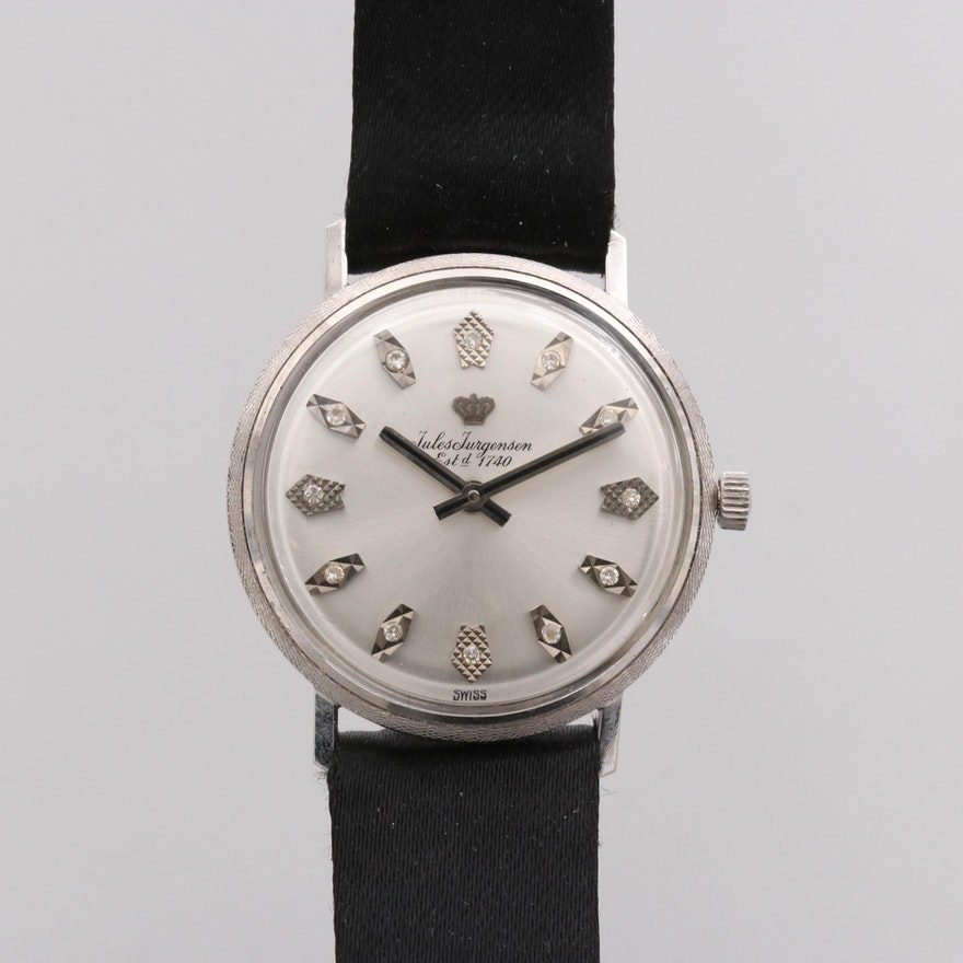 Jules Jürgensen 14K White Gold Wristwatch With Diamond Dial