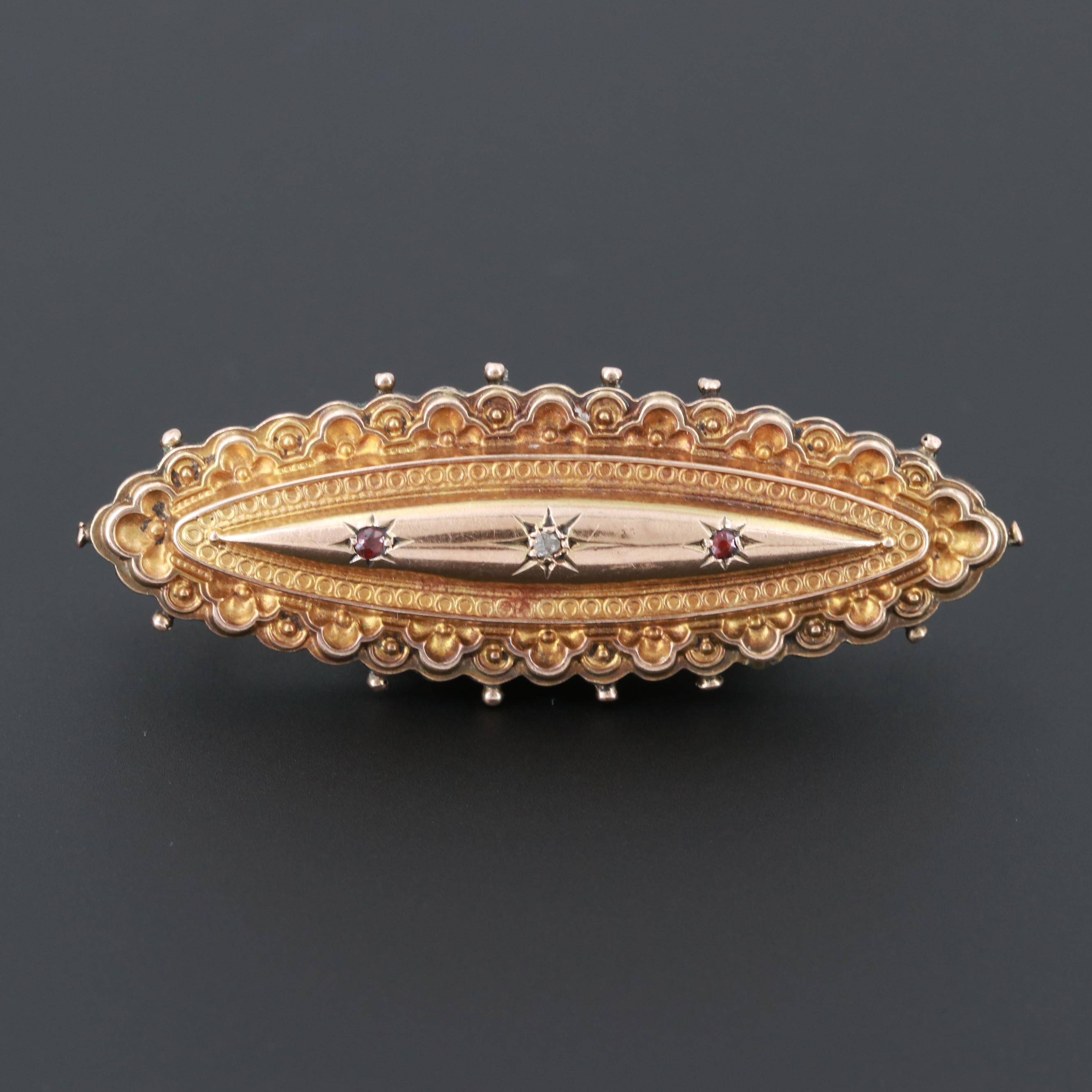 Victorian 9K Yellow Gold Diamond and Garnet Brooch