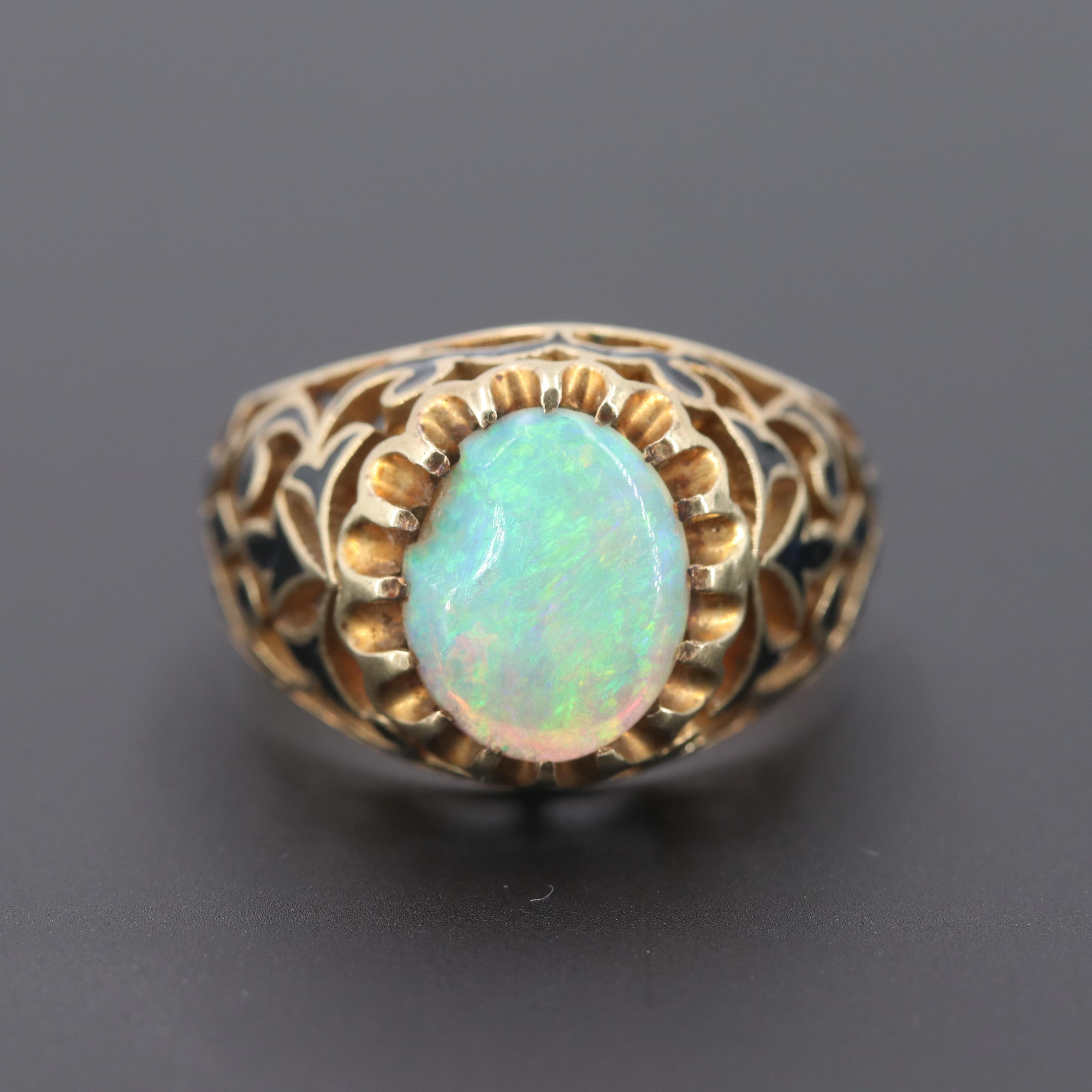 14K Yellow Gold Opal and Enamel Ring