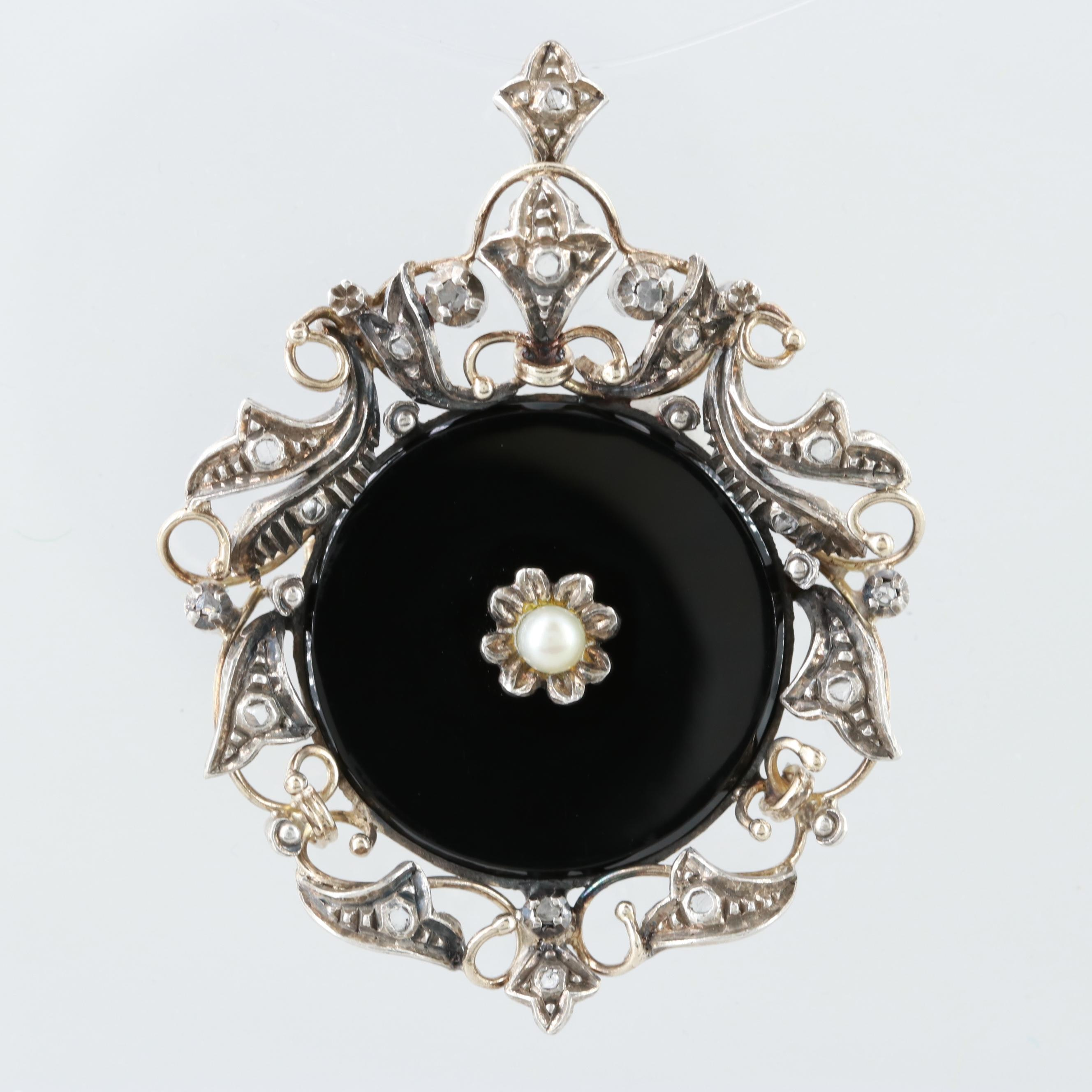 Victorian 19K White Gold and Sterling Silver Black Onyx Converter Brooch