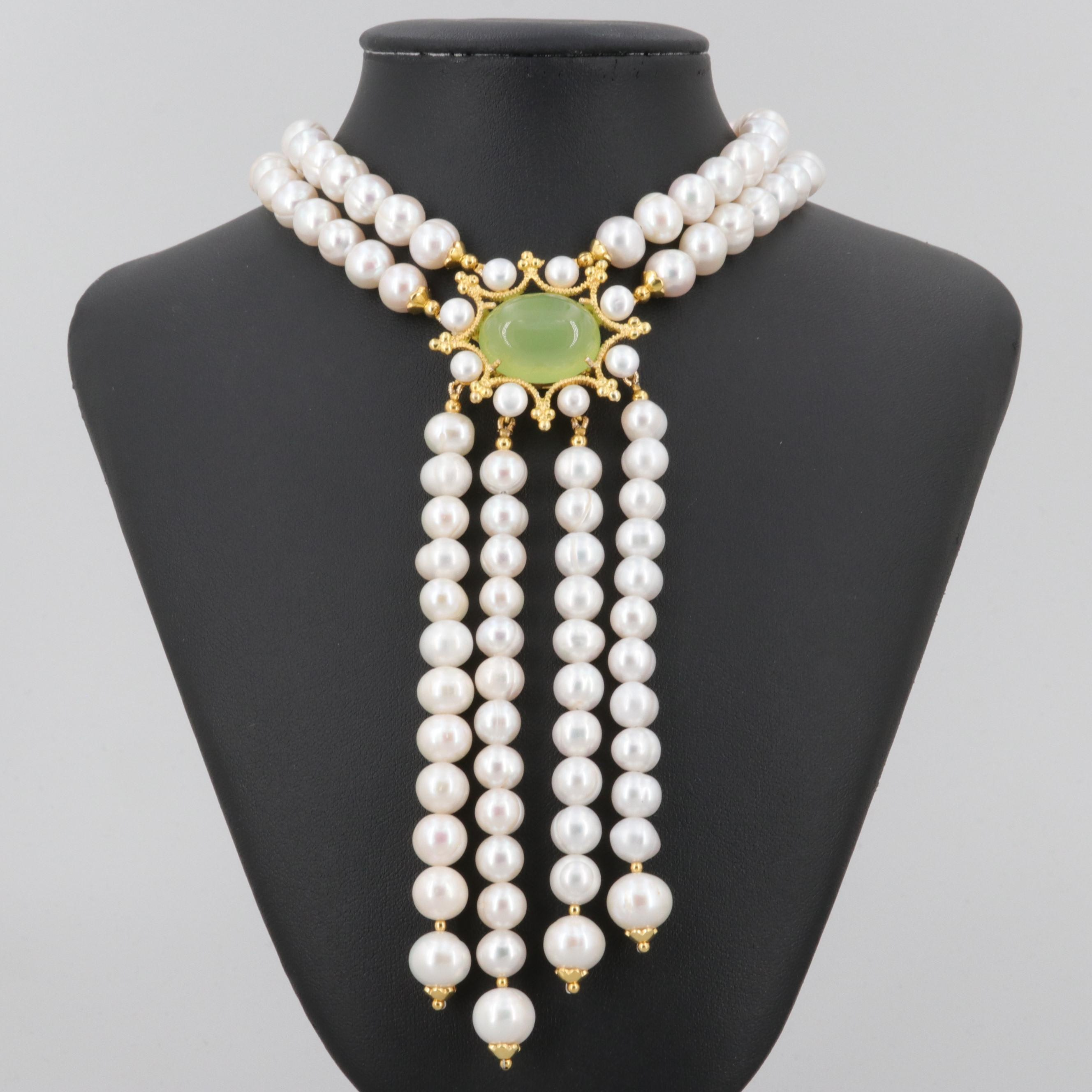 Gold Wash on Sterling Silver Cultured Pearl, Chalcedony and Ruby Necklace