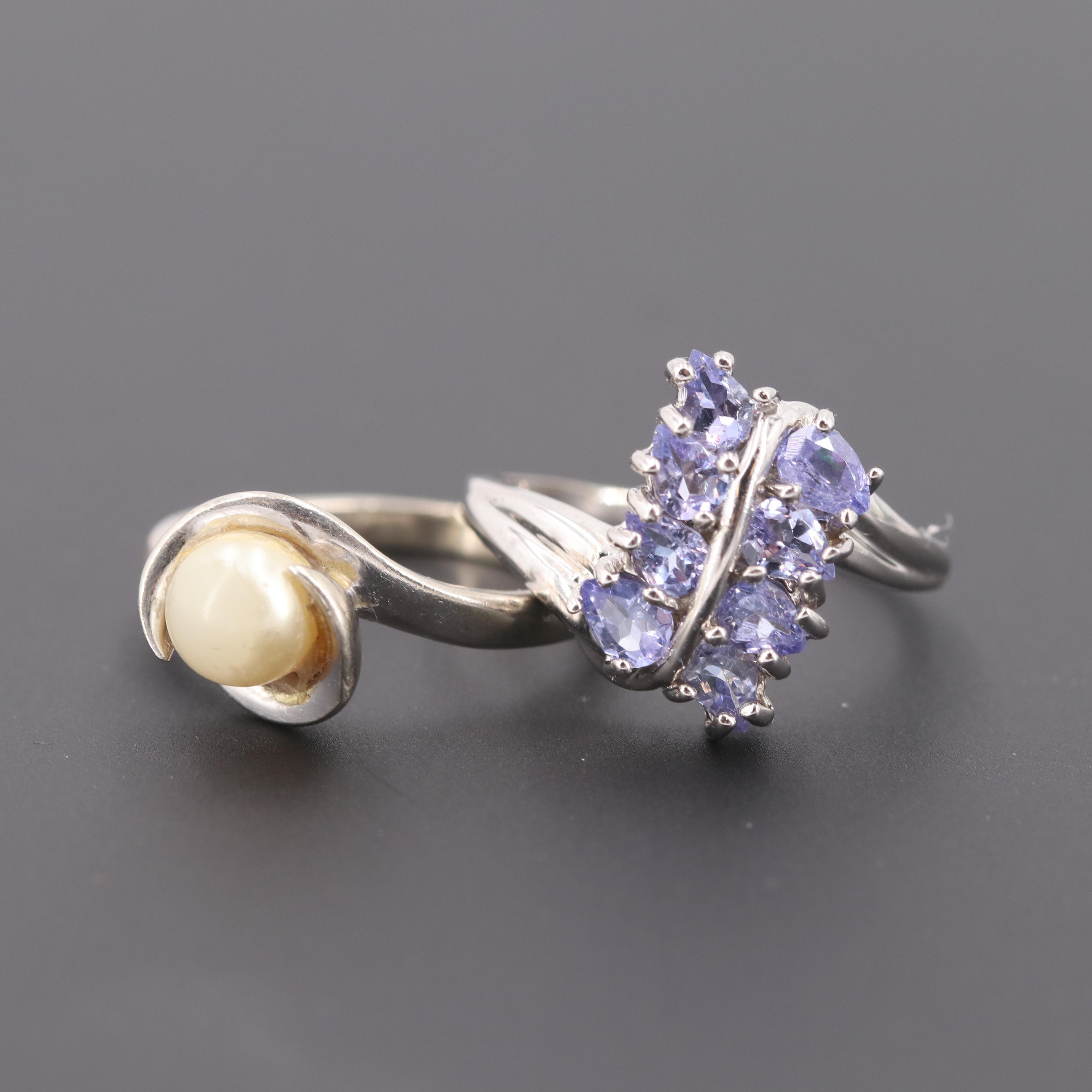 10K White Gold Imitation Pearl and 14K White Gold Tanzanite Rings