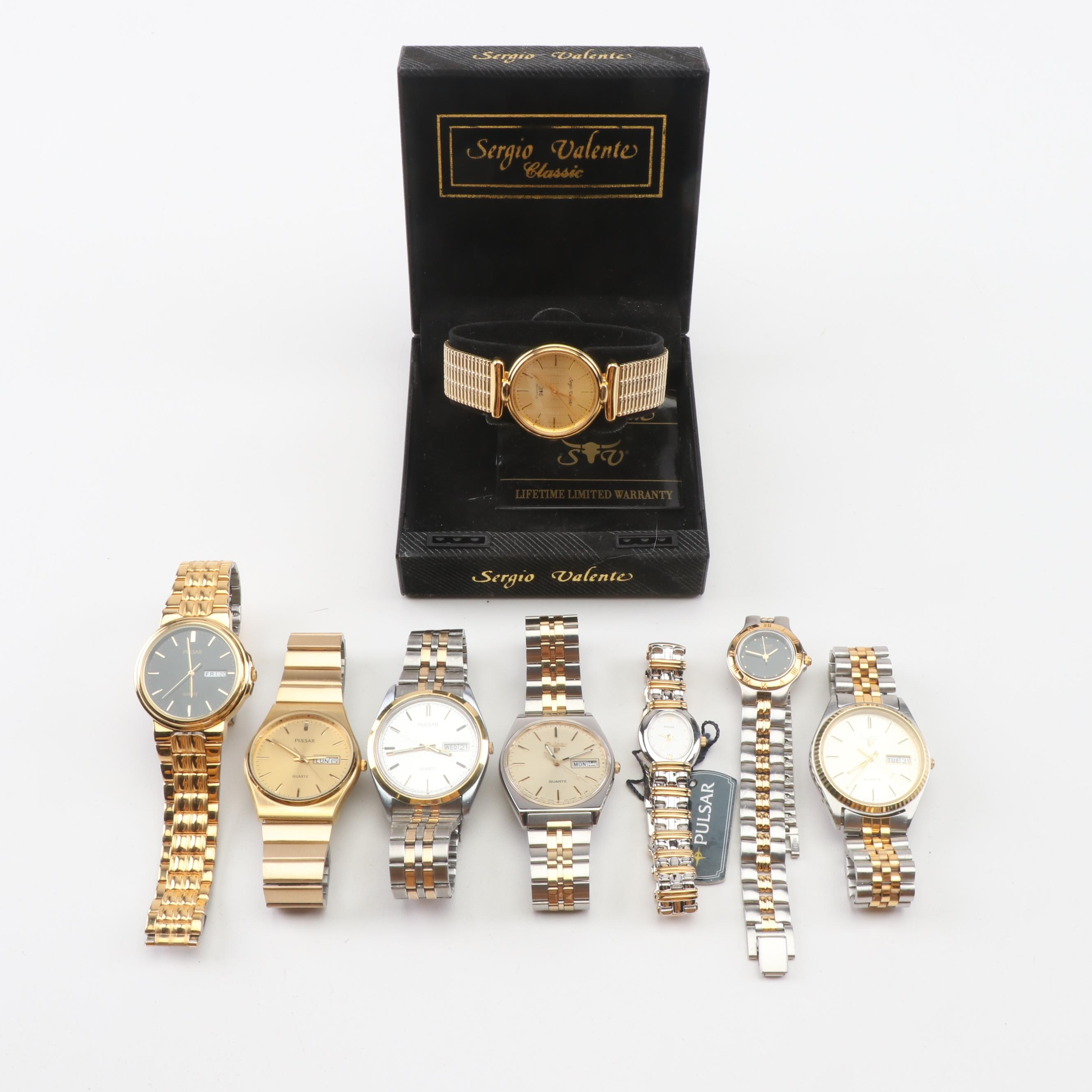 Gold Tone Pulsar and Sergio Velente Wristwatches