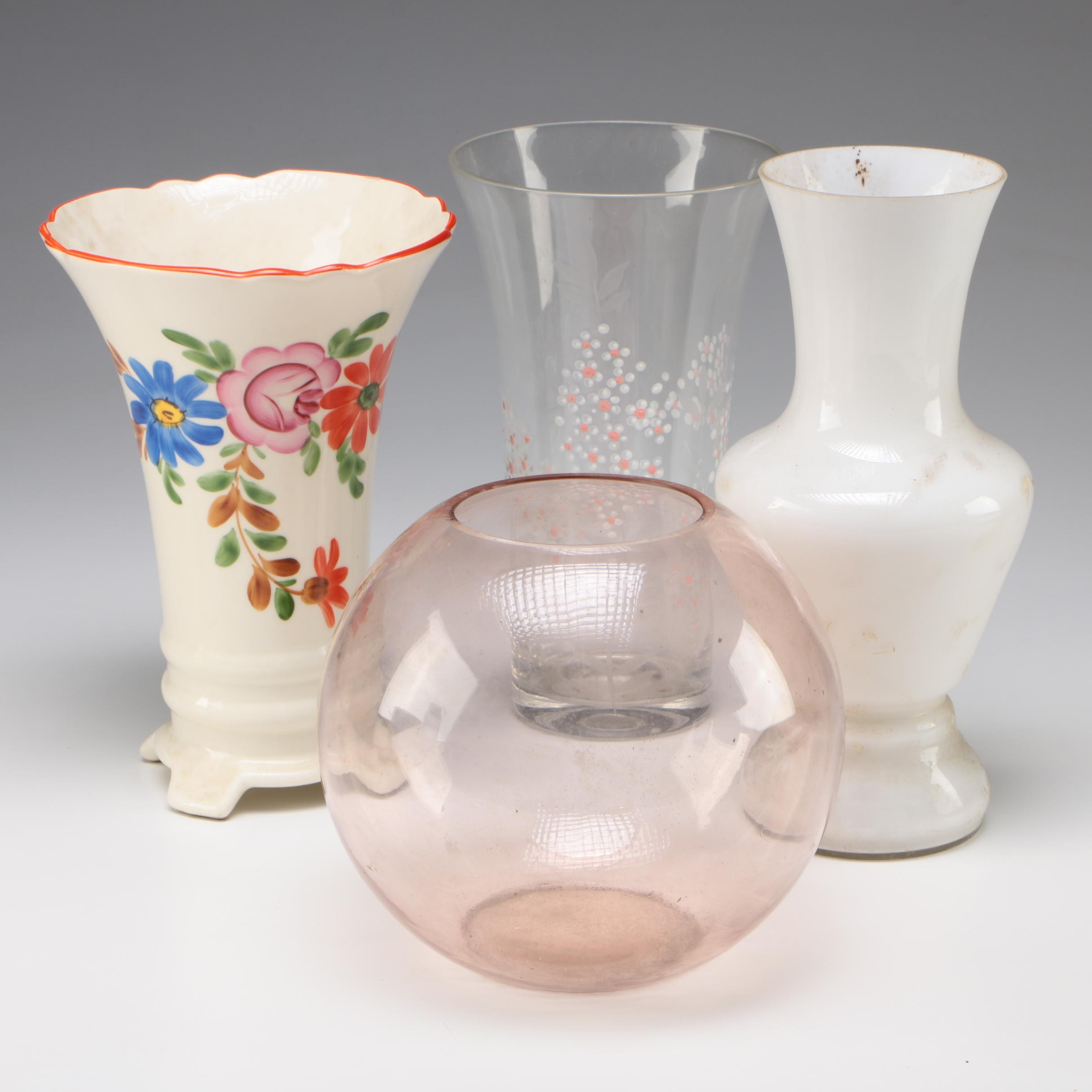 BIHL Czechoslovakia Hand-Painted Ceramic Vase with other Glass Vases,