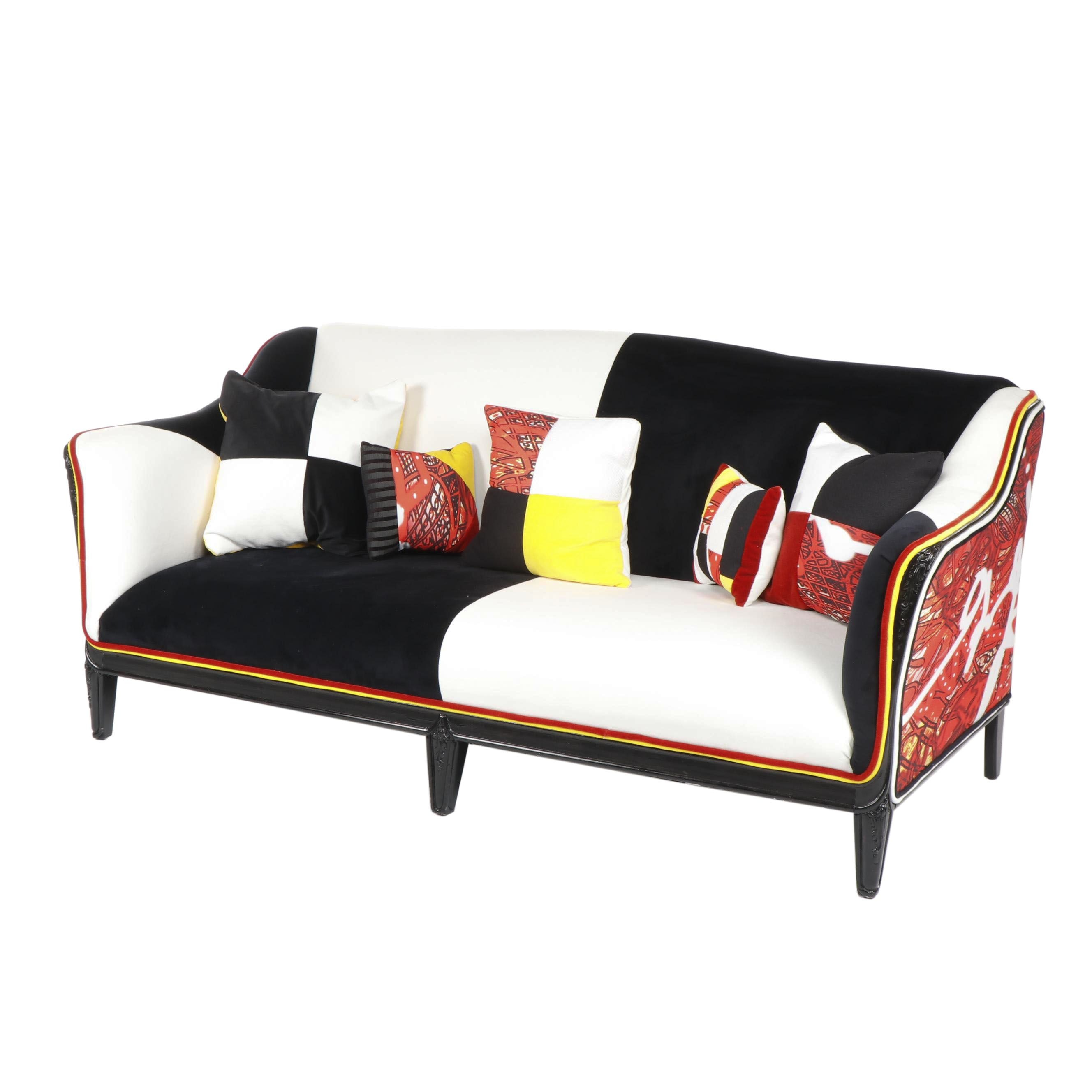 Checkerboard and Bold Print Custom Upholstered Settee