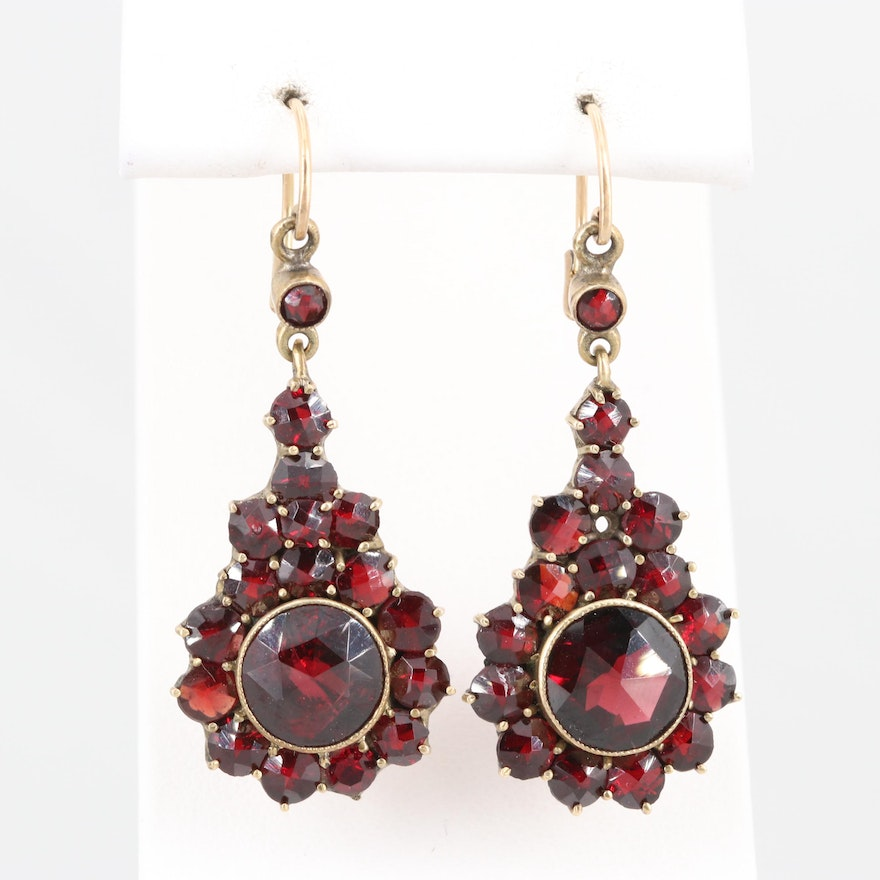 Vintage Gold Tone Garnet Dangle Earrings with 14K Yellow Gold Backs and Hoops