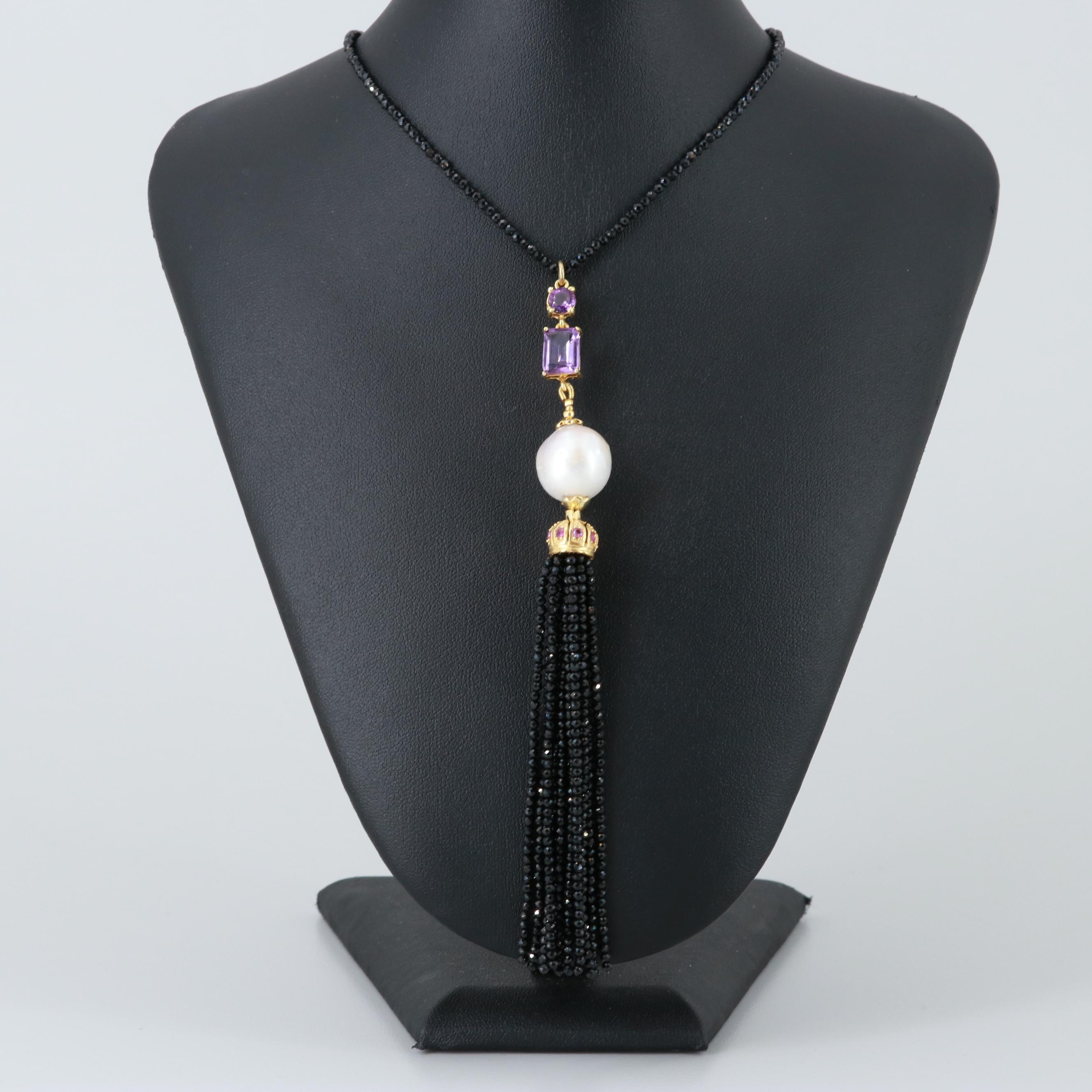 Gold Wash on Sterling Silver Cultured Pearl, Amethyst and Black Onyx Sautoir