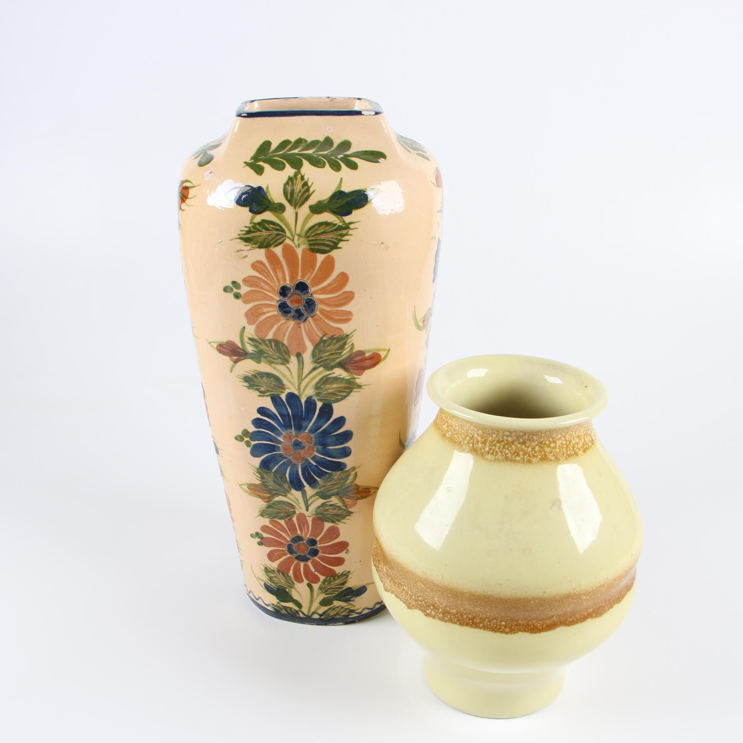 Hand-Painted Czechoslovakian Vase with Floral Faïence Vase