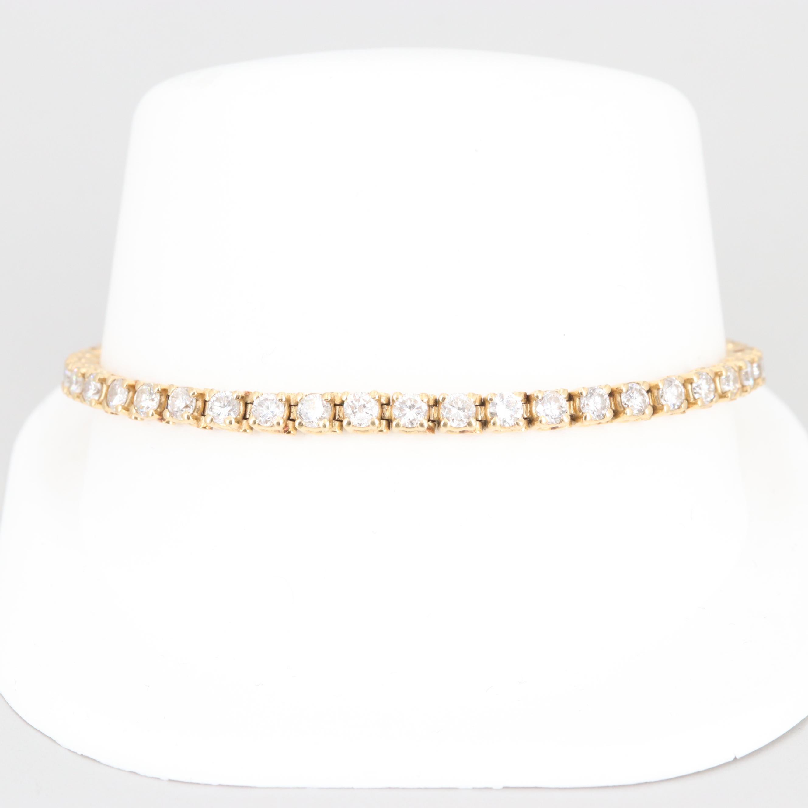 14K Yellow Gold 4.50 CTW Diamond Tennis Bracelet