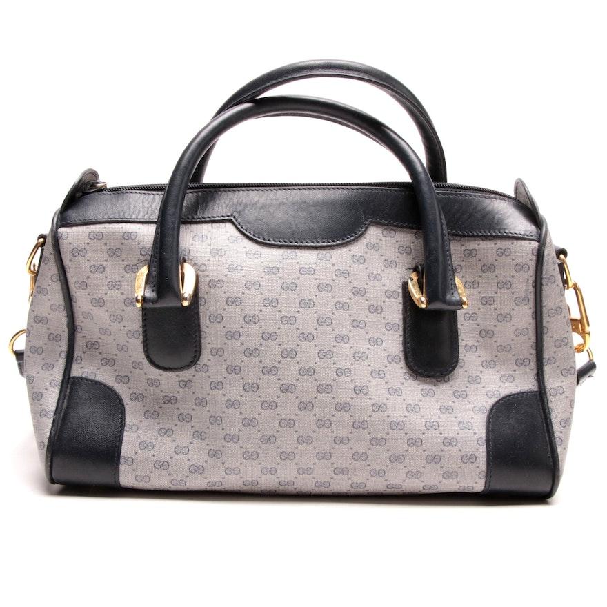 Gucci GG Supreme Canvas and Leather Handbag, Vintage
