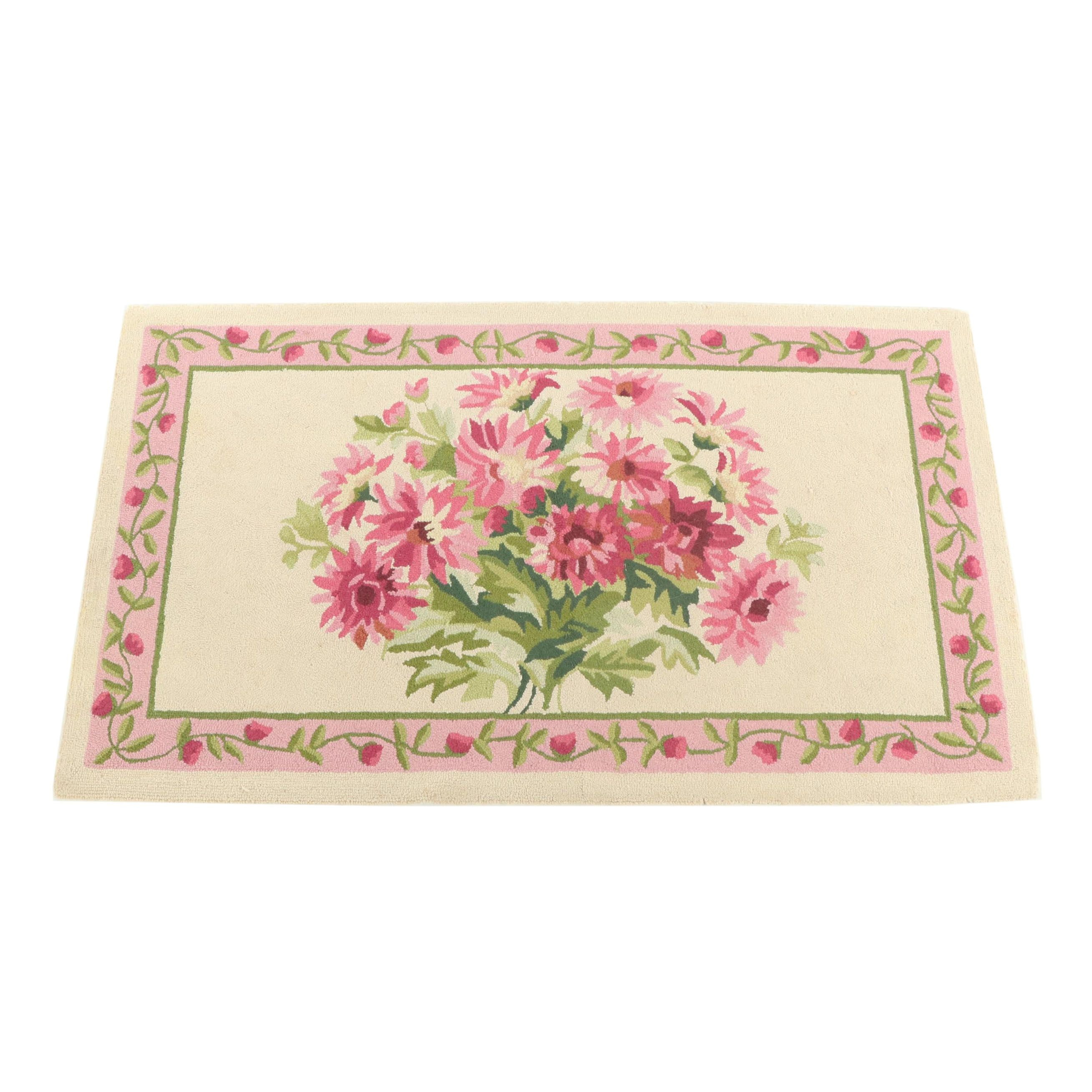 Hooked Floral Wool Blend Accent Rug