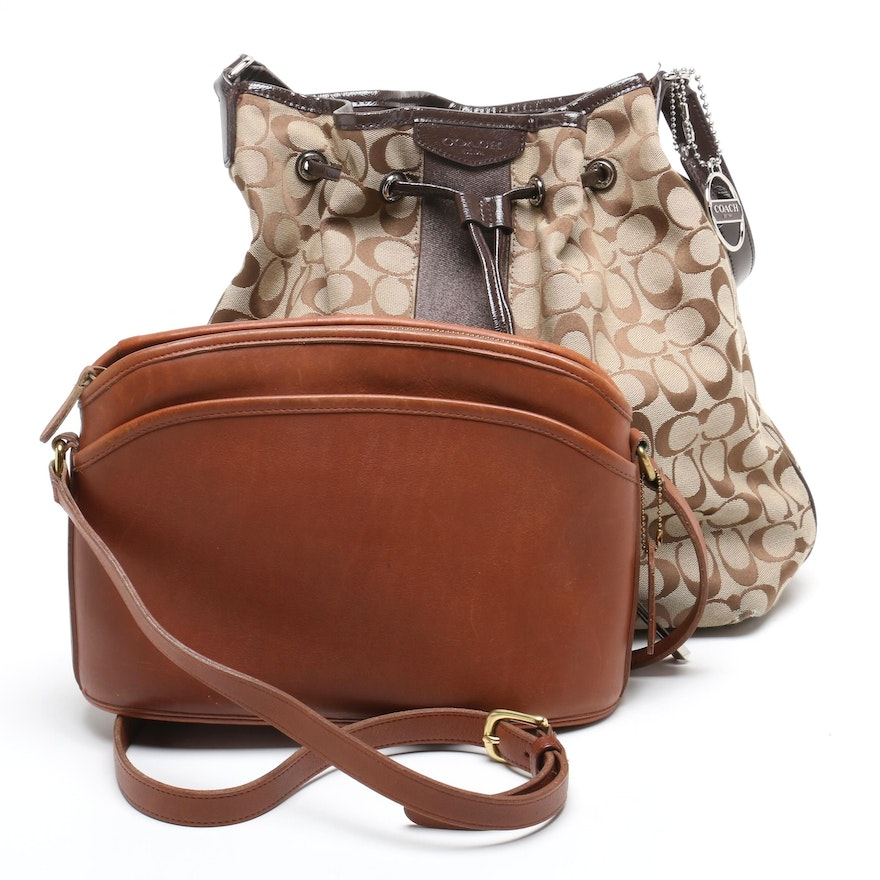 Coach Signature Stripe Bucket Bag and Tan Leather Anderson Bag   EBTH a33384c183