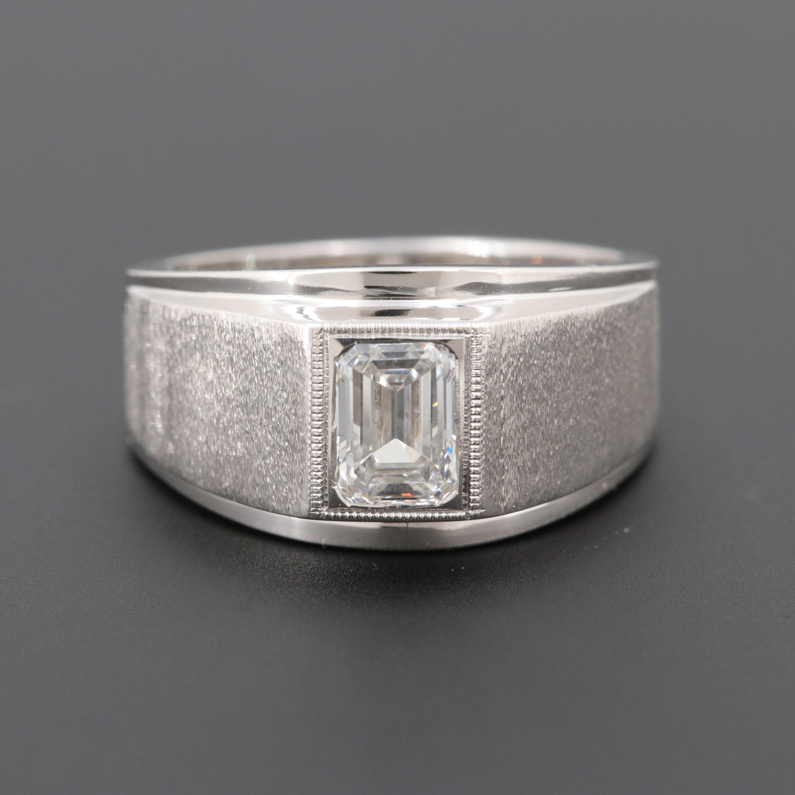 14K White Gold Diamond Ring with Florentine Finish Accents
