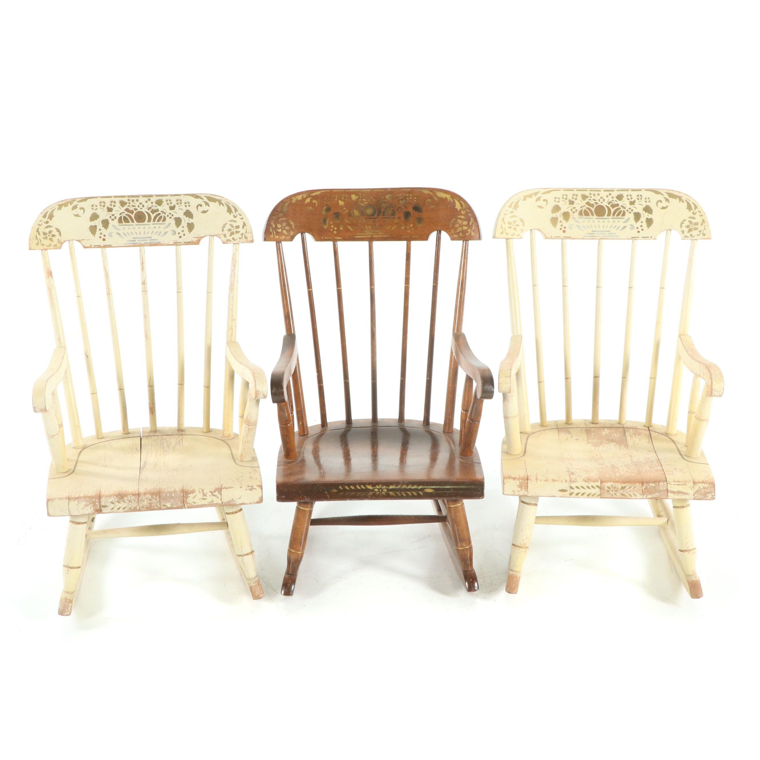 Painted and Stenciled Child's Rocking Chairs featuring Nichols & Stone, 20th C.