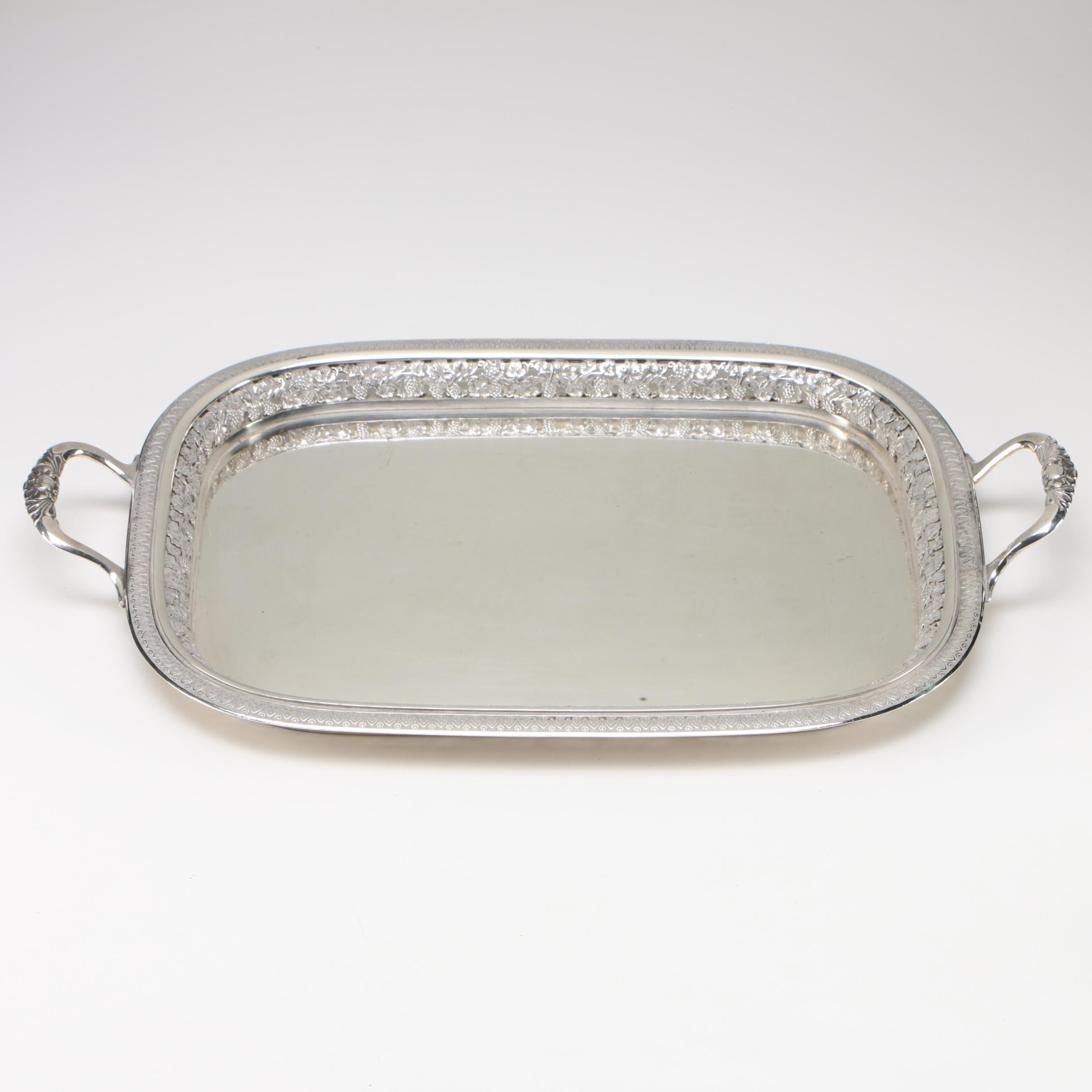 20th Century Elkington & Co. Coin Silver Tray with Pierced Gallery