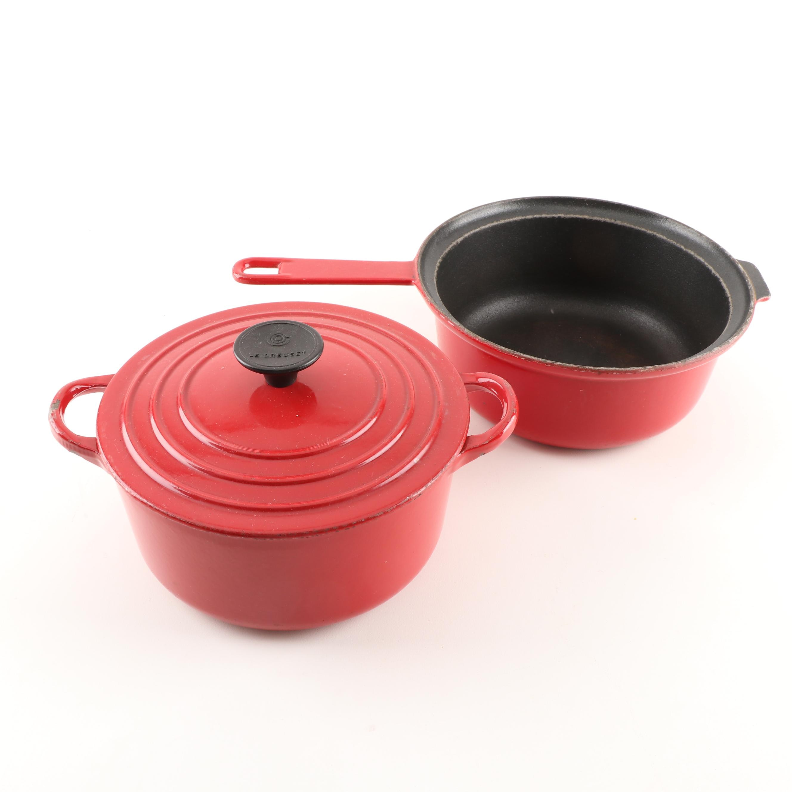 Le Creuset Red Enameled Cast Iron Sauté Pan and Dutch Oven with Lid