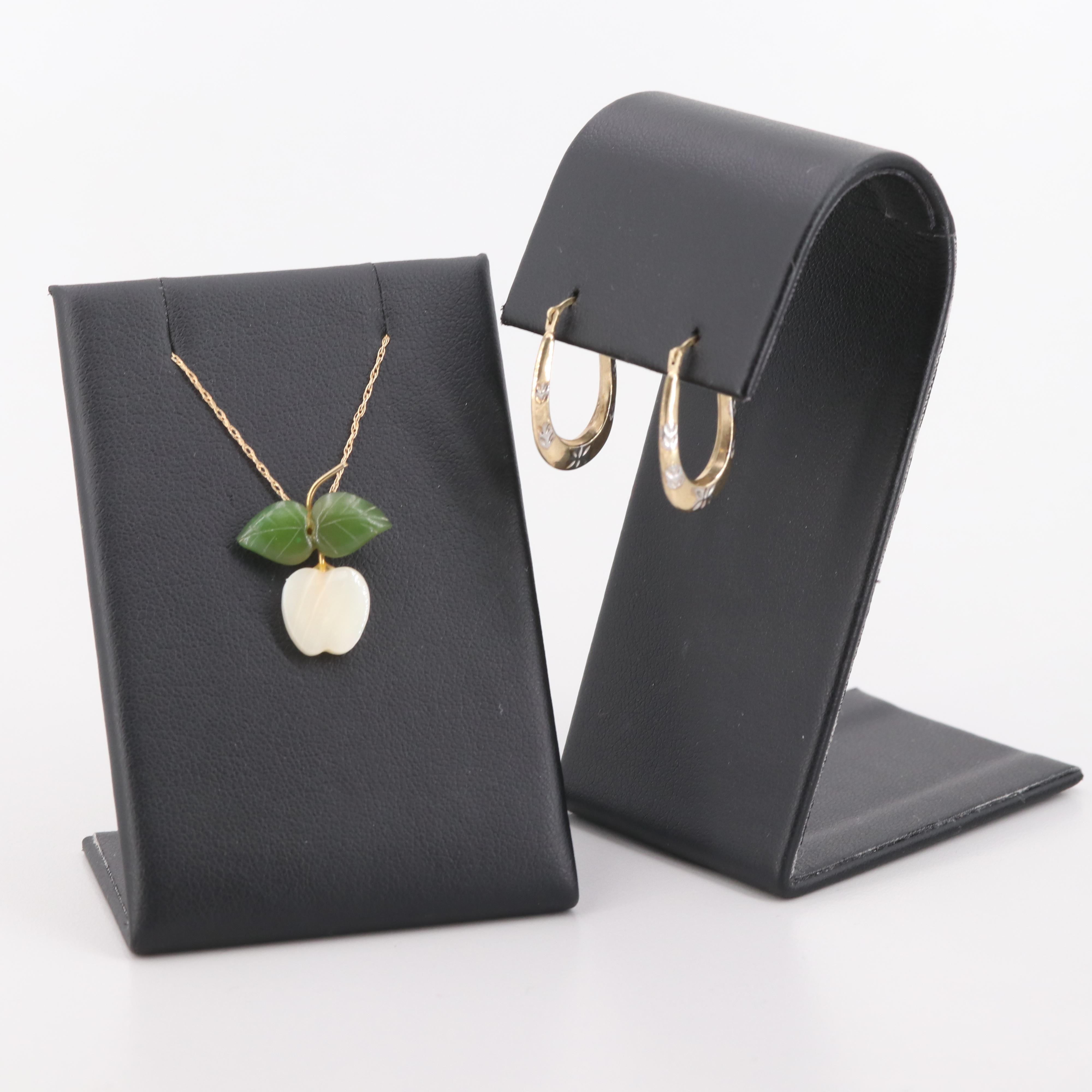 14K Yellow Gold Mother of Pearl and Nephrite Necklace with 10K Gold Earrings Set