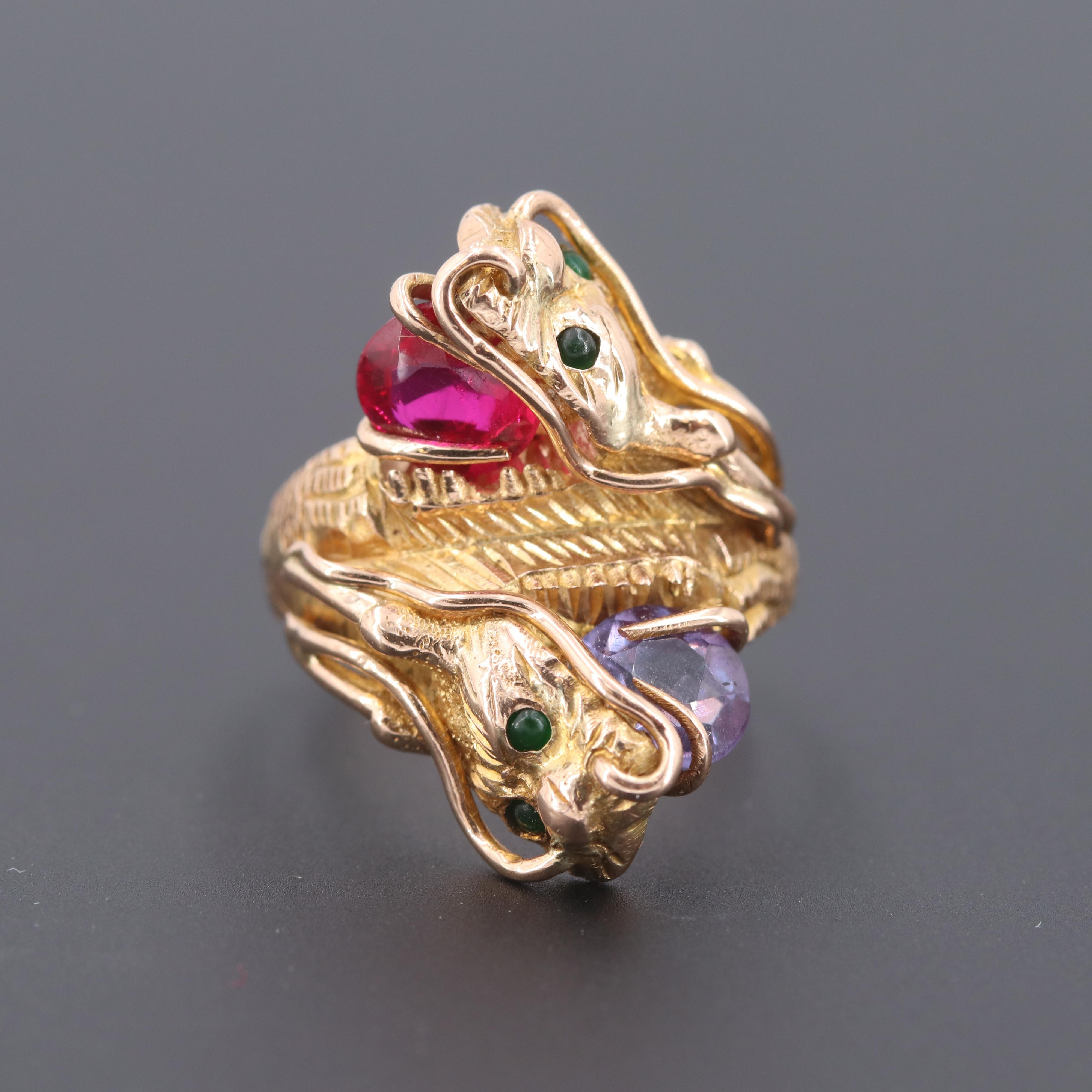 14K Yellow Gold Synthetic Ruby, Synthetic Sapphire and Nephrite Dragon Ring