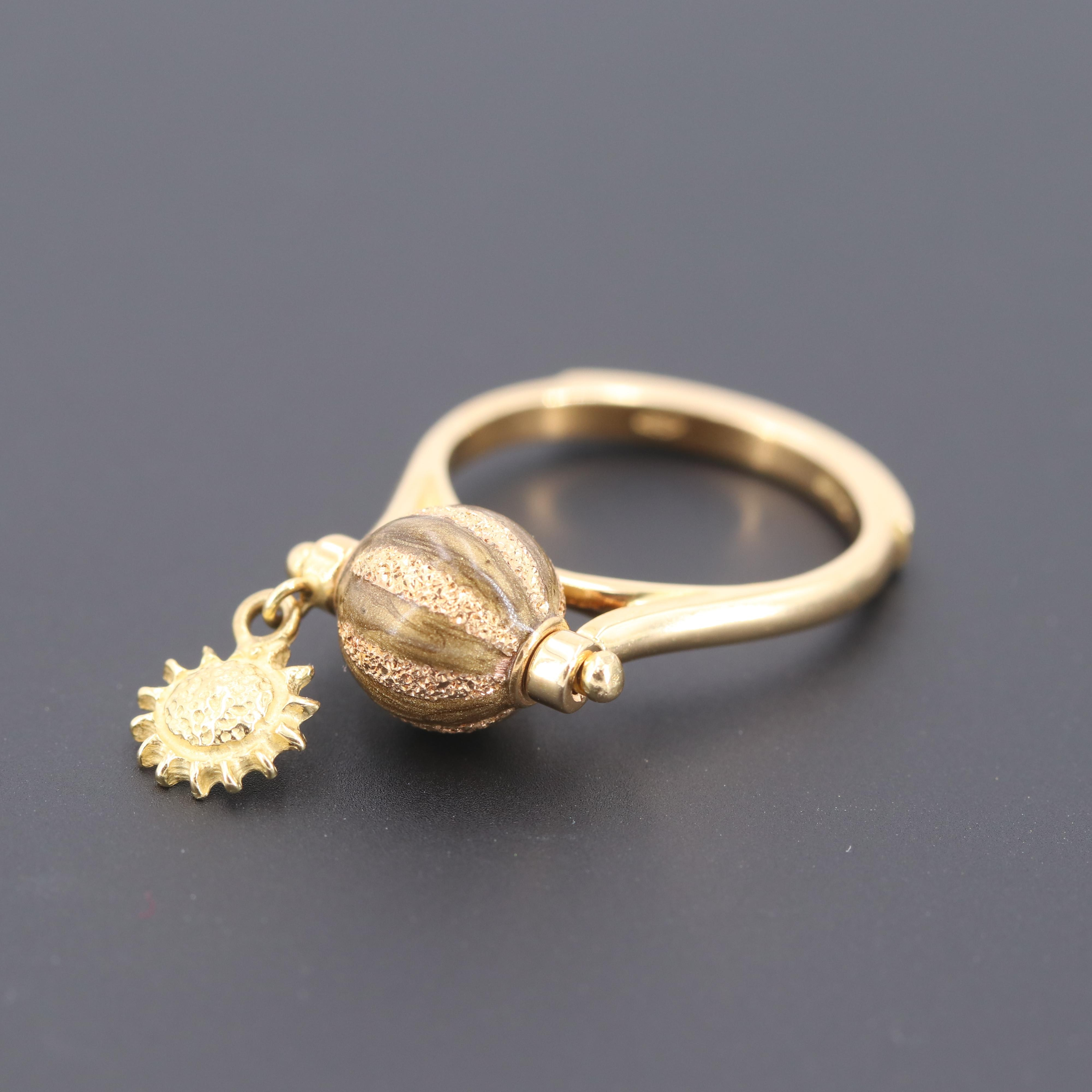 Carolina Bucci 18K Yellow Gold Enamel Articualted Ring