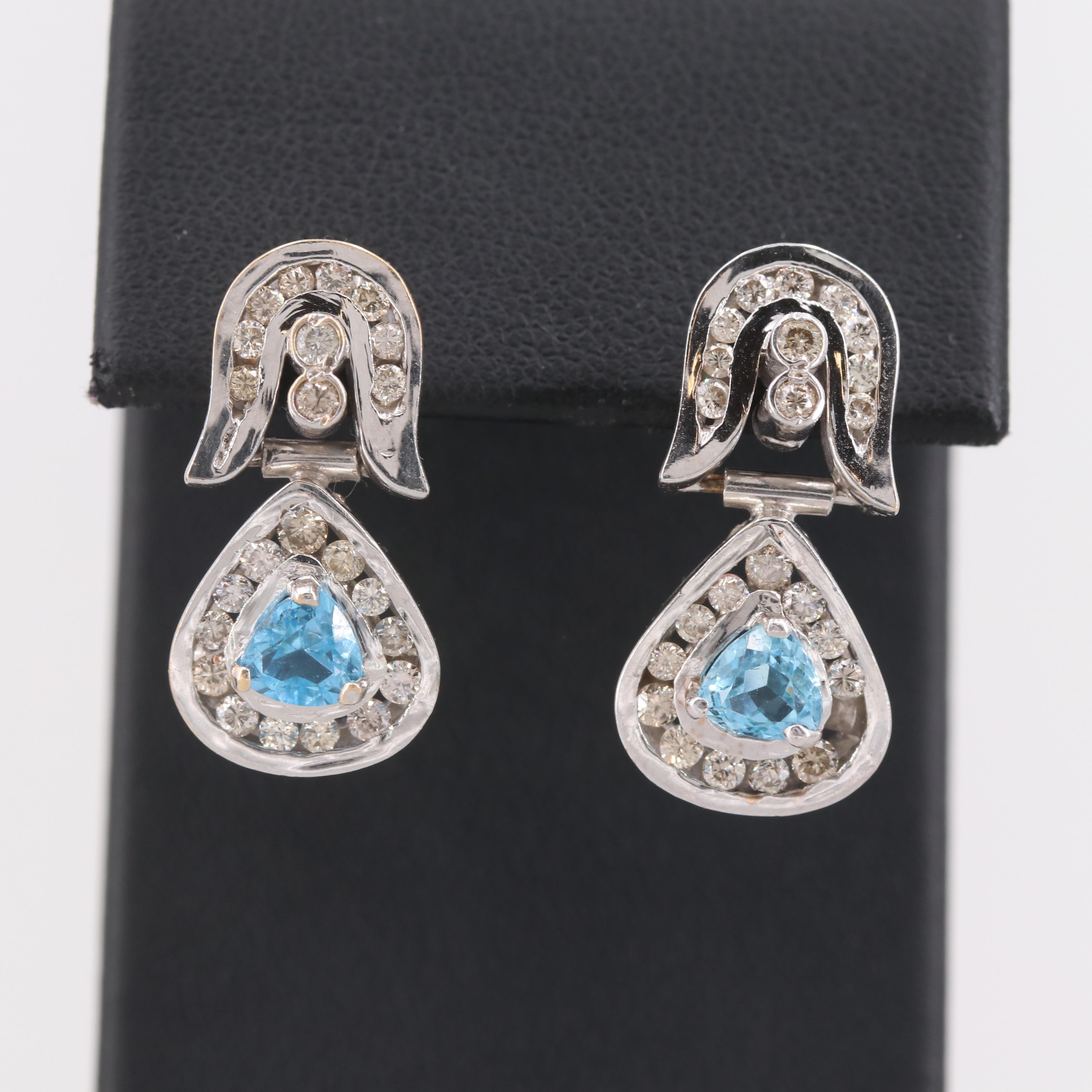 18K White Gold Topaz and 1.02 CTW Diamond Earrings