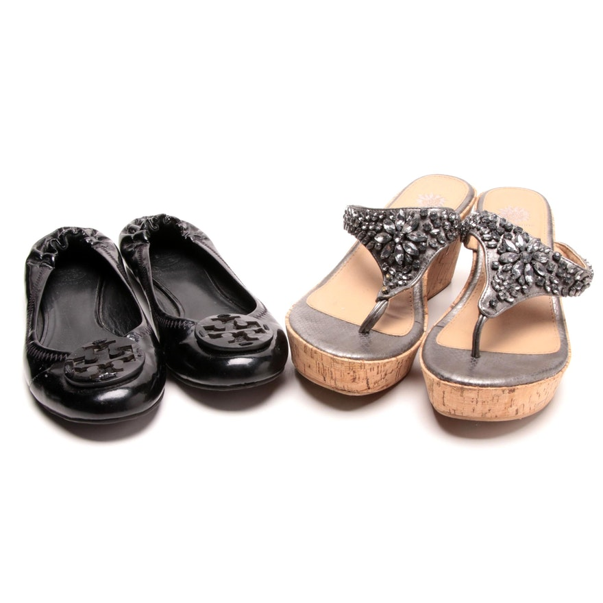 0c1d555cad0 Tory Burch Black Patent Leather Flats and Yellow Box Thong Cork Wedge  Sandals ...