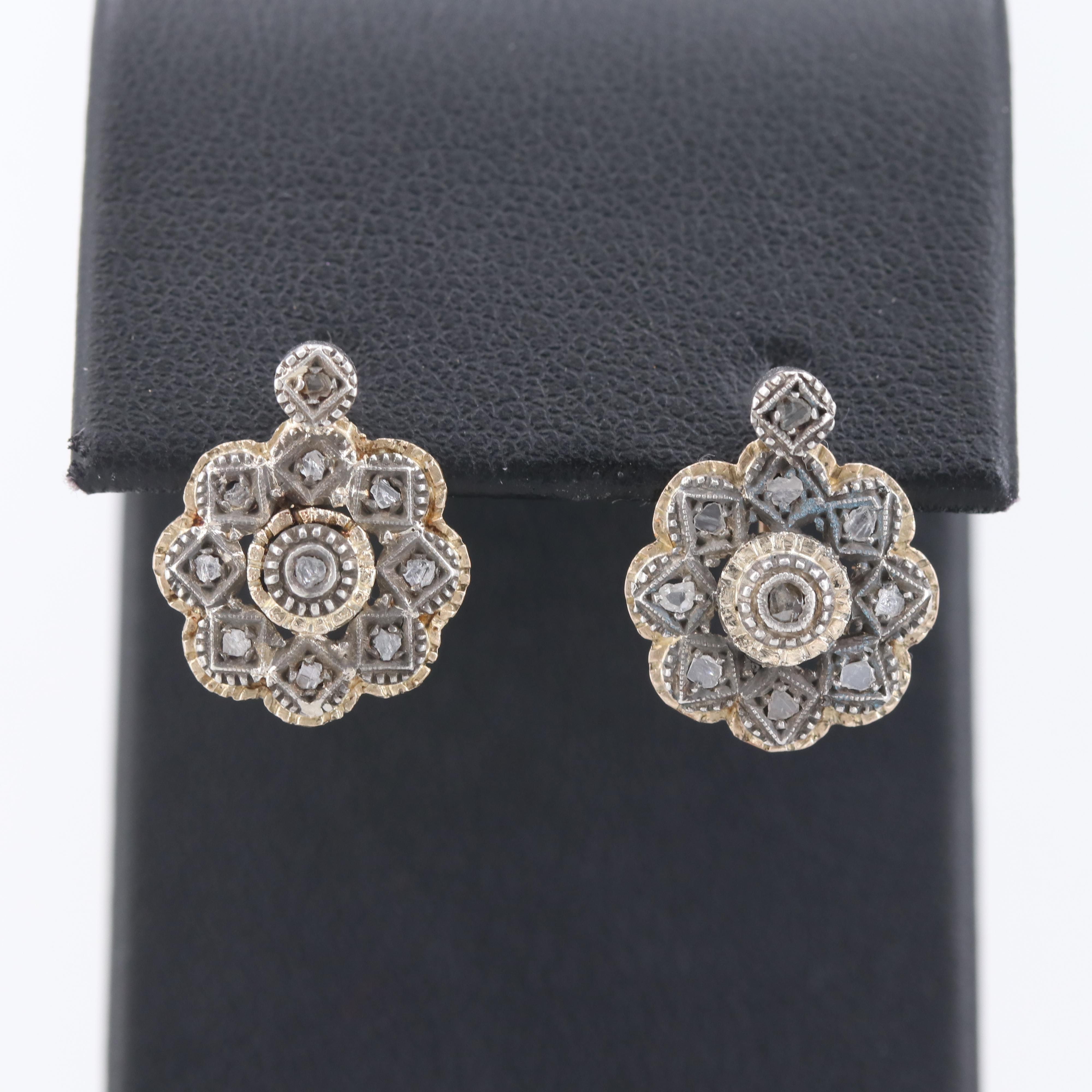 Antique Portuguese 18K Yellow Gold Diamond Earrings with Sterling Silver Accents