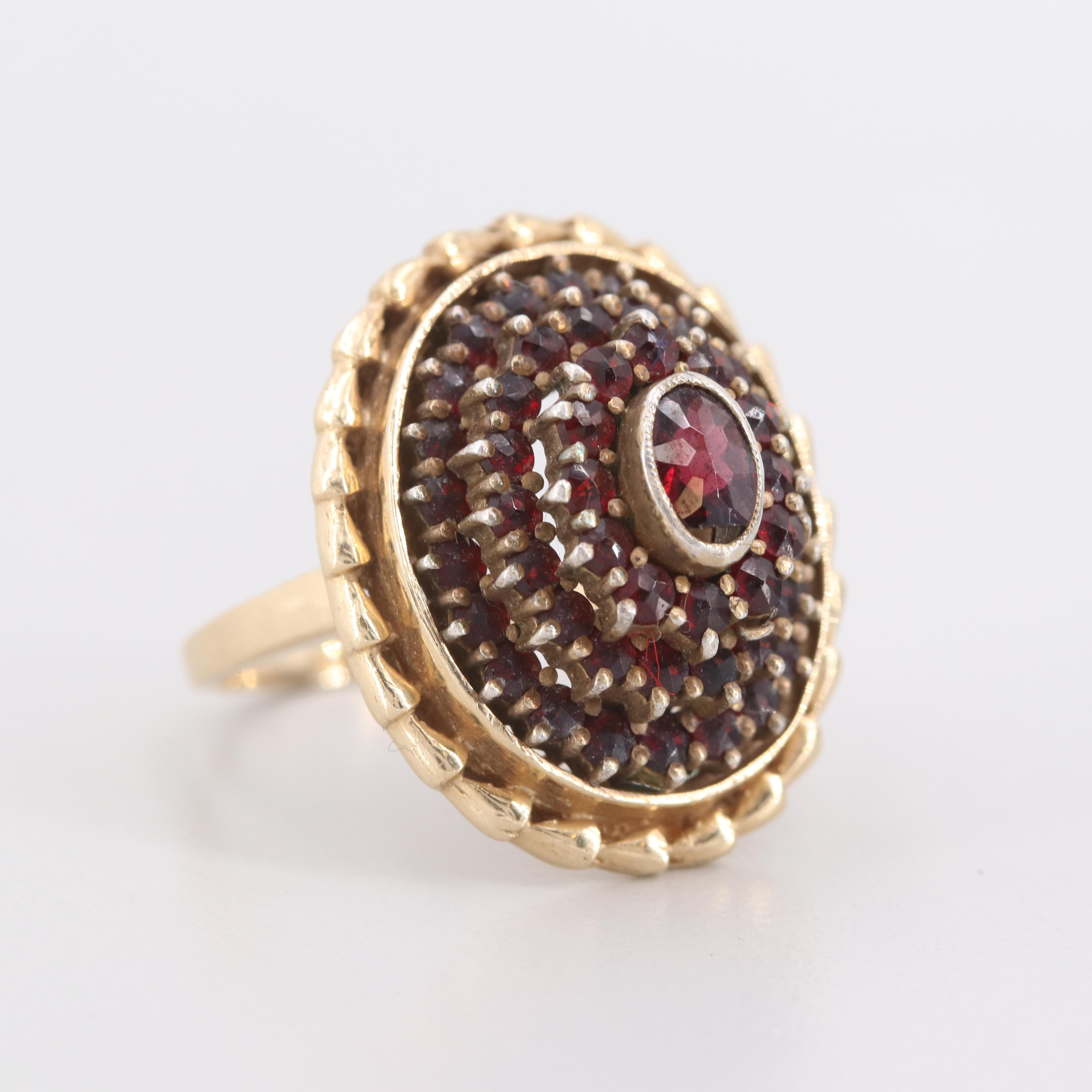 14K Yellow Gold Garnet Ring with 800 Silver Top Bezel