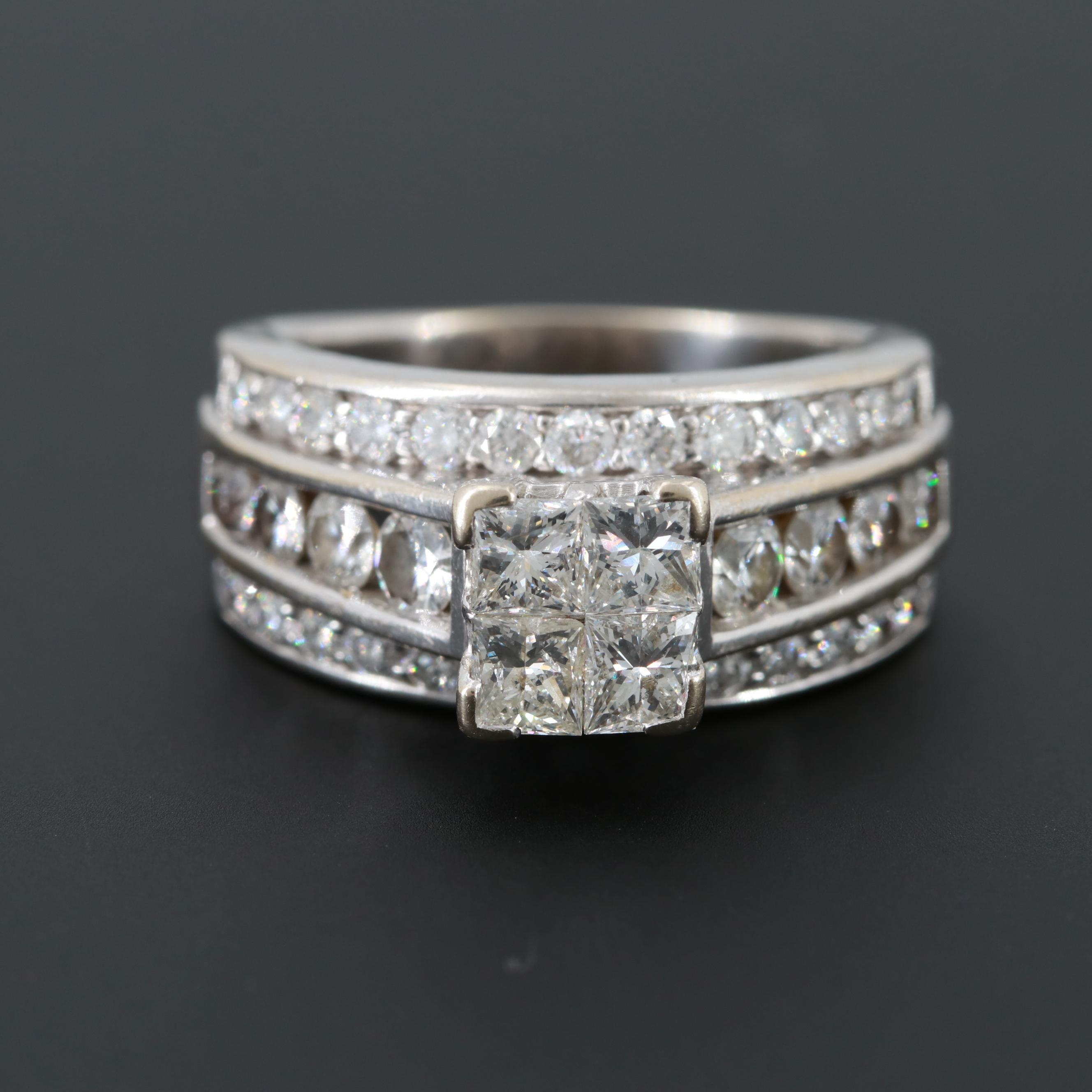 14K White Gold 2.74 CTW Diamond Ring