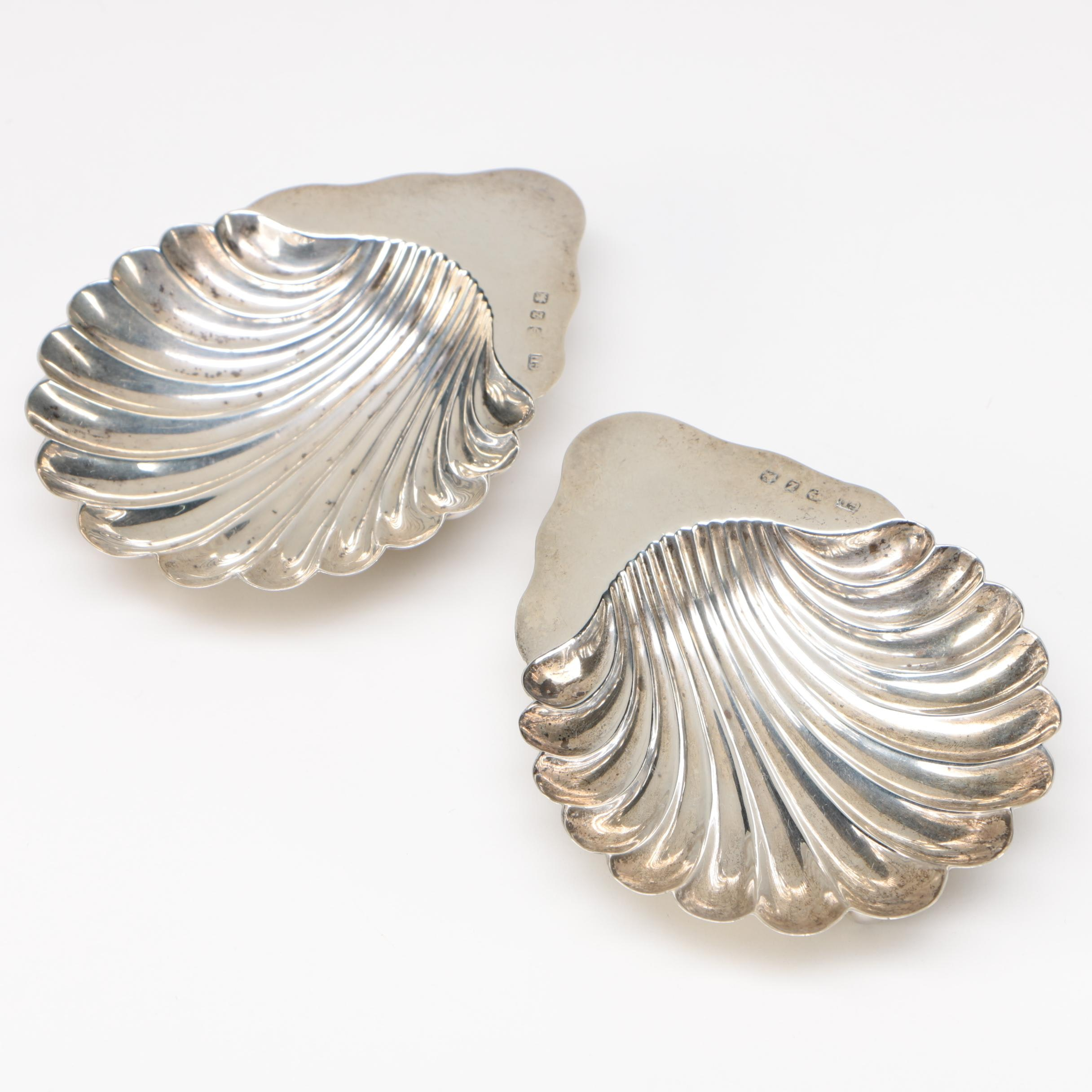 Pair of Elizabeth II Sterling Silver Shell Form Butter Dishes