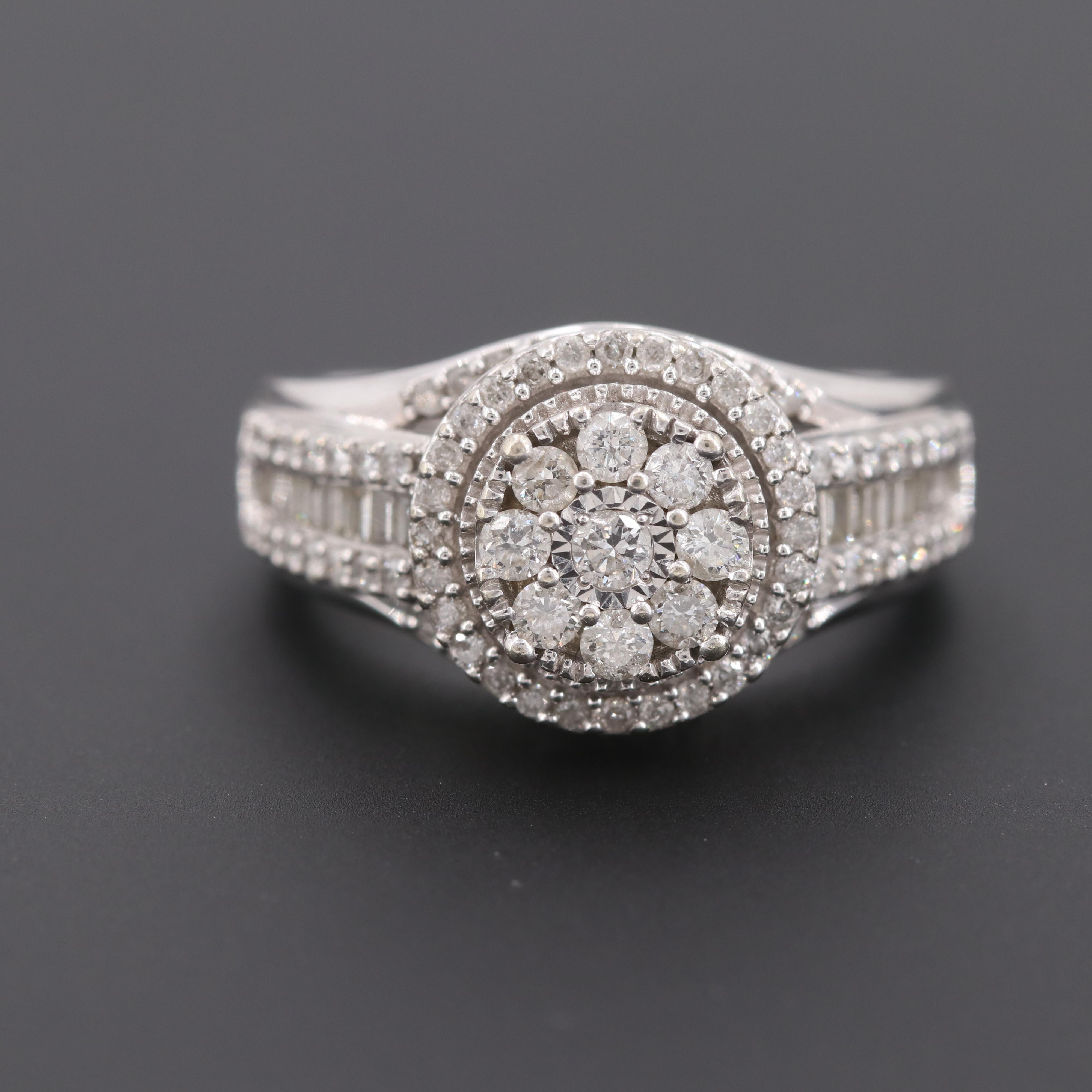 10K White Gold 1.02 CTW Diamond Ring
