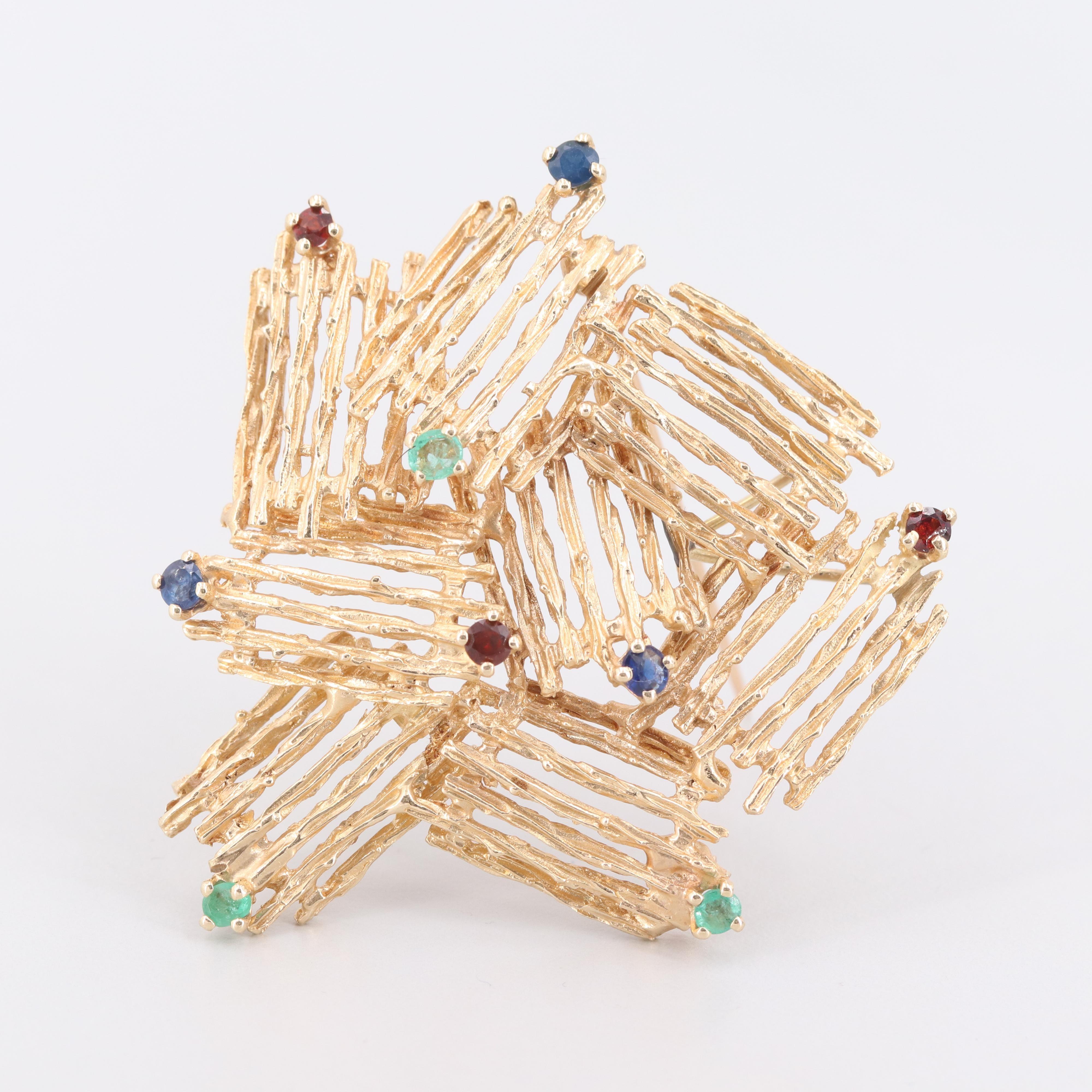 14K Yellow Gold Sapphire, Emerald and Garnet Converter Brooch