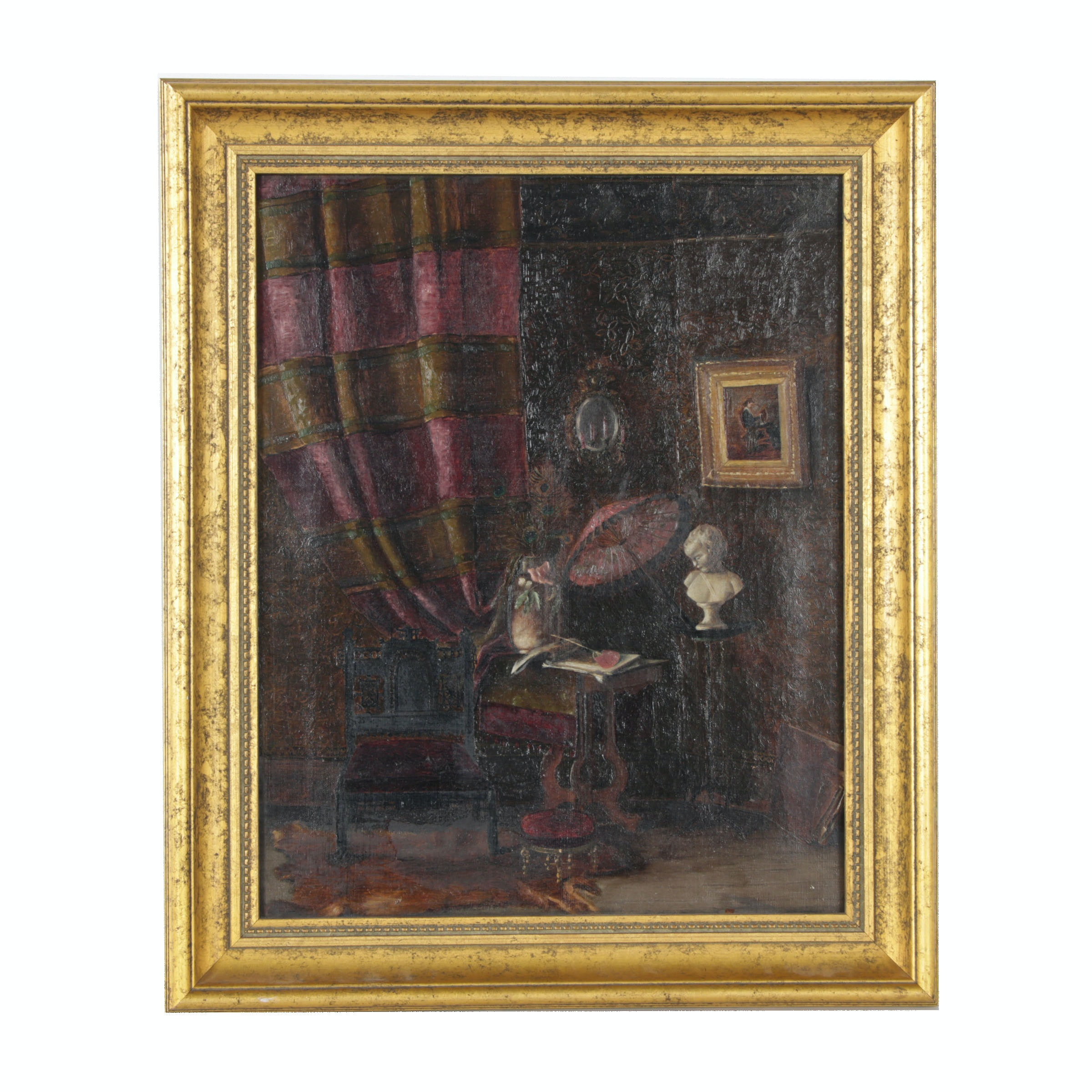 20th Century Oil Painting of Victorian Parlor