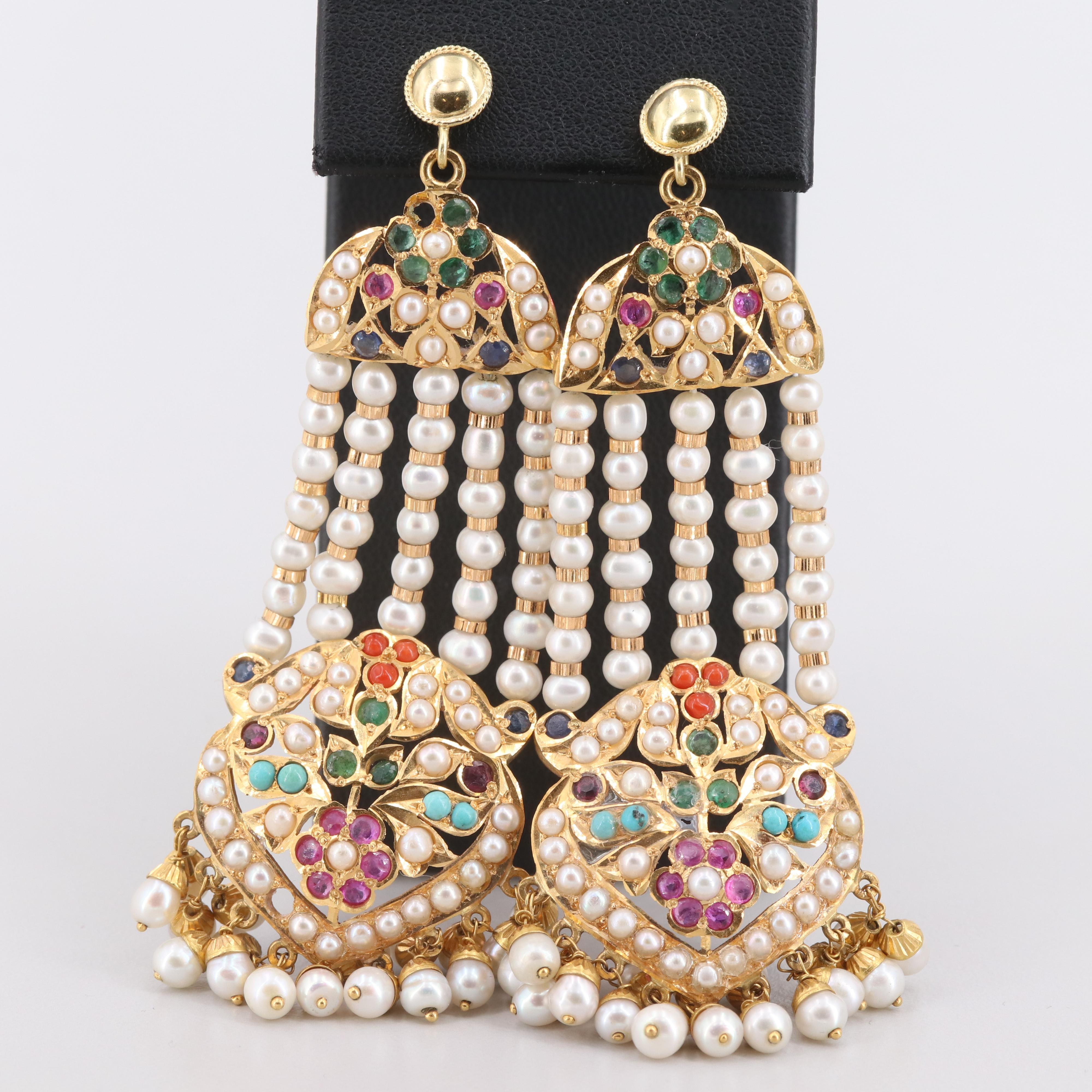 18K Yellow Gold Ruby, Sapphire, Emerald and Gemstone Chandelier Earrings