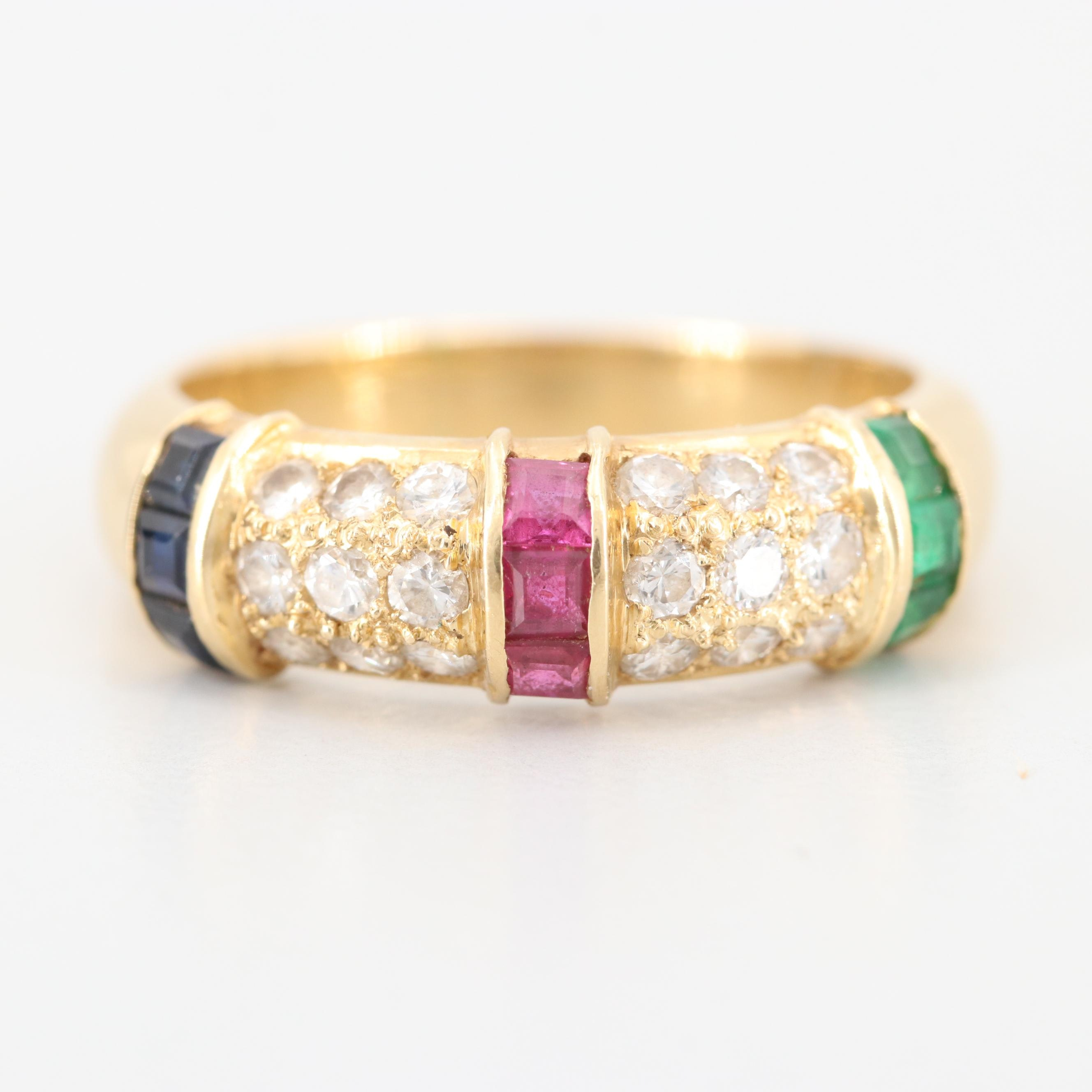 18K Yellow Gold Ruby, Diamond, Emerald, and Blue Sapphire Ring