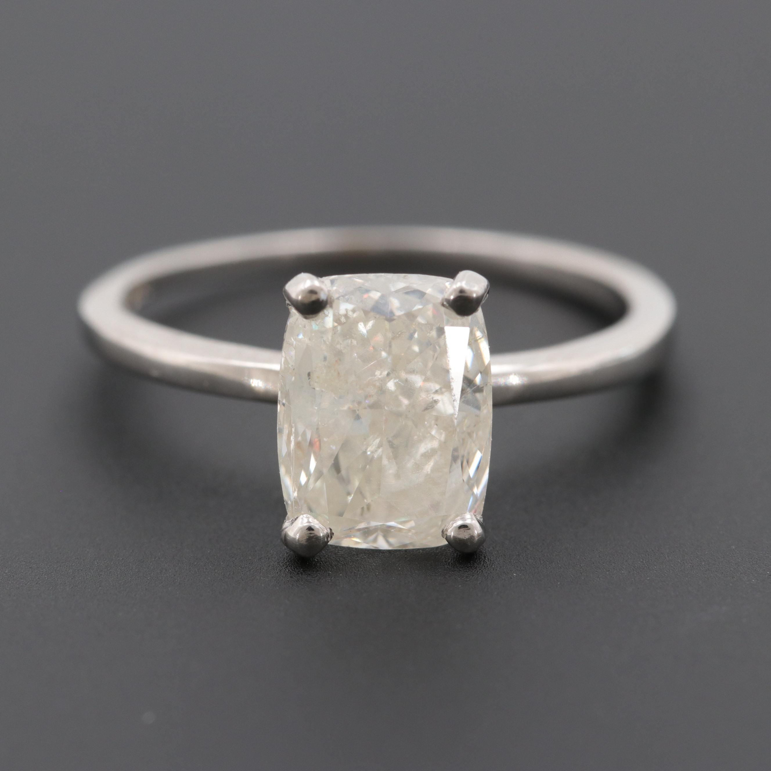 14K White Gold 1.71 CT Diamond Ring Solitaire