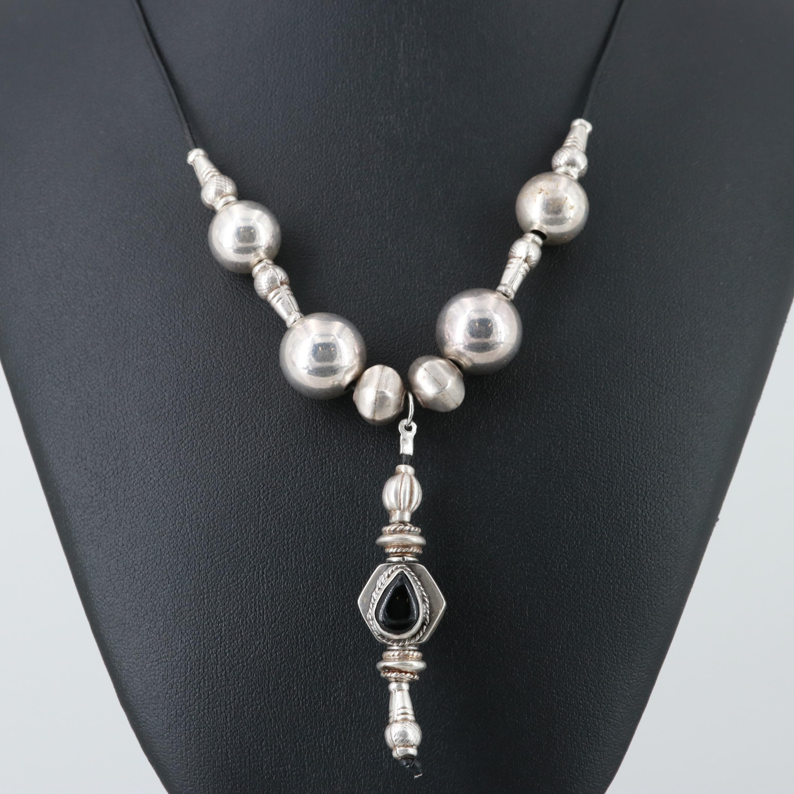 Sterling Silver Beaded Necklace with Black Onyx Pendant