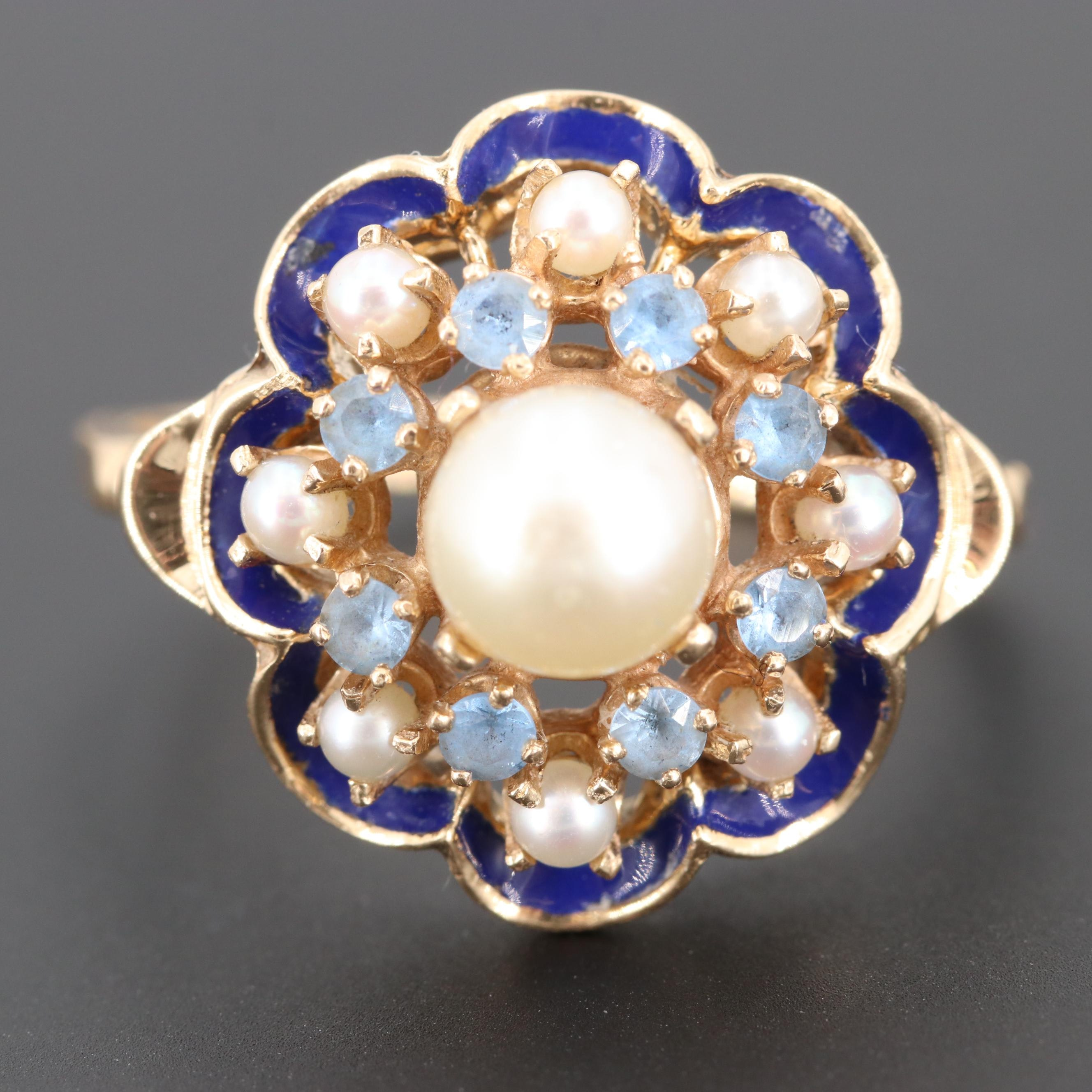 Circa 1930s Ostby & Barton 14K Yellow Gold Cultured Pearl, Topaz and Enamel Ring