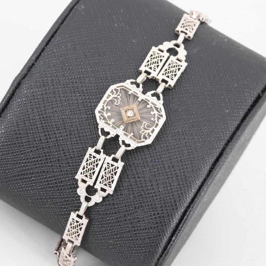 Art Deco 10K White Gold Rose Quartz and Diamond Bracelet